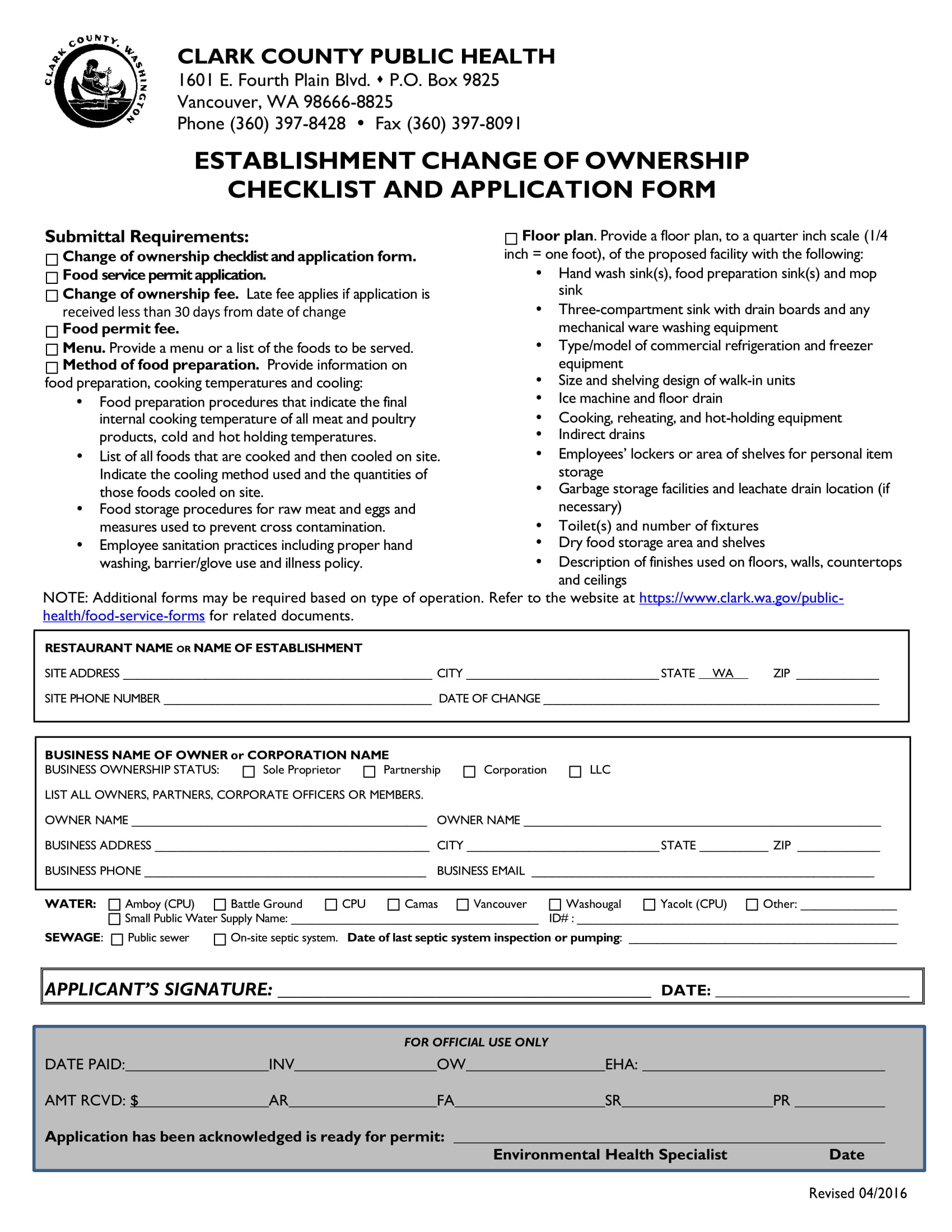 restaurant change of ownership application checklist form 1