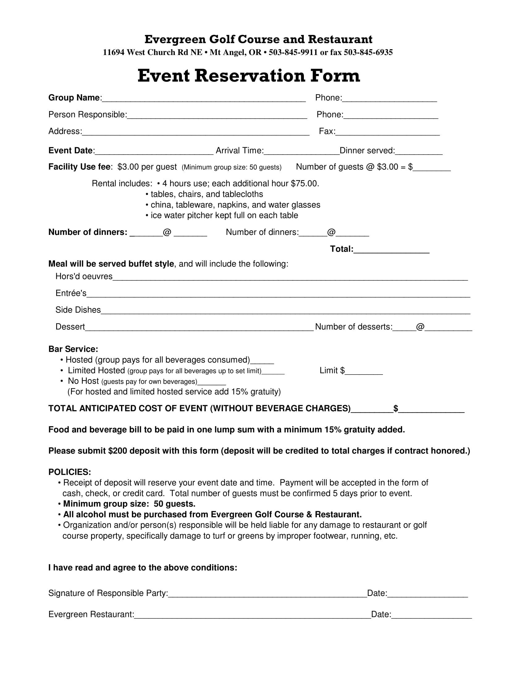 restaurant event reservation form 1
