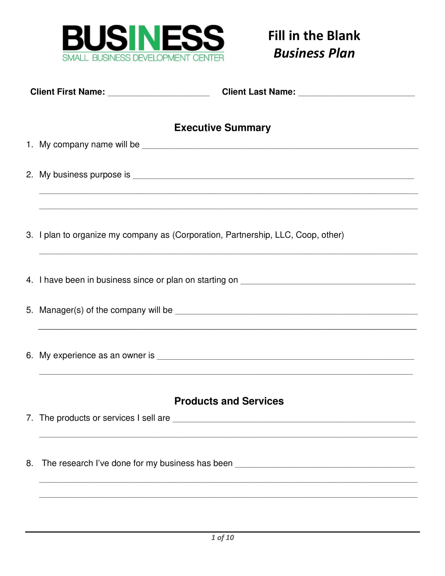 restaurant marketing business plan form 01