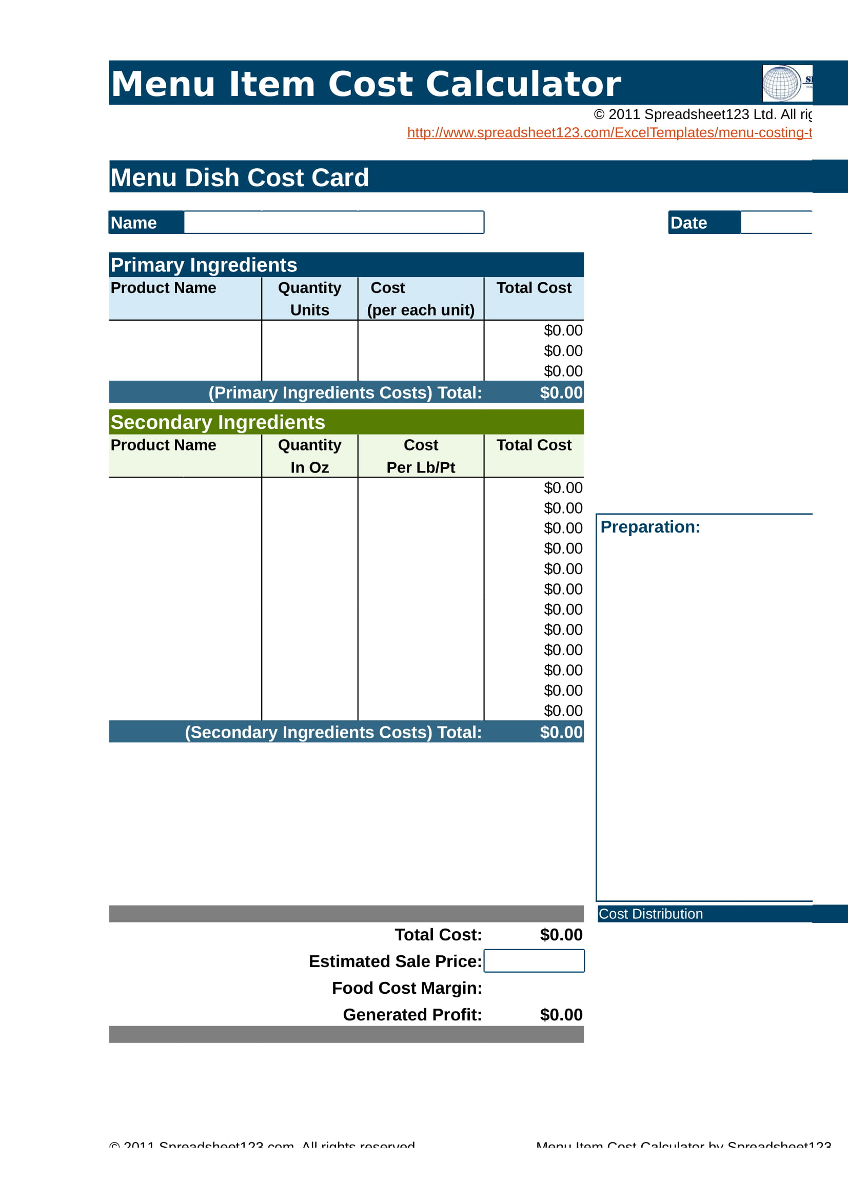 restaurant menu item cost calculator form 01