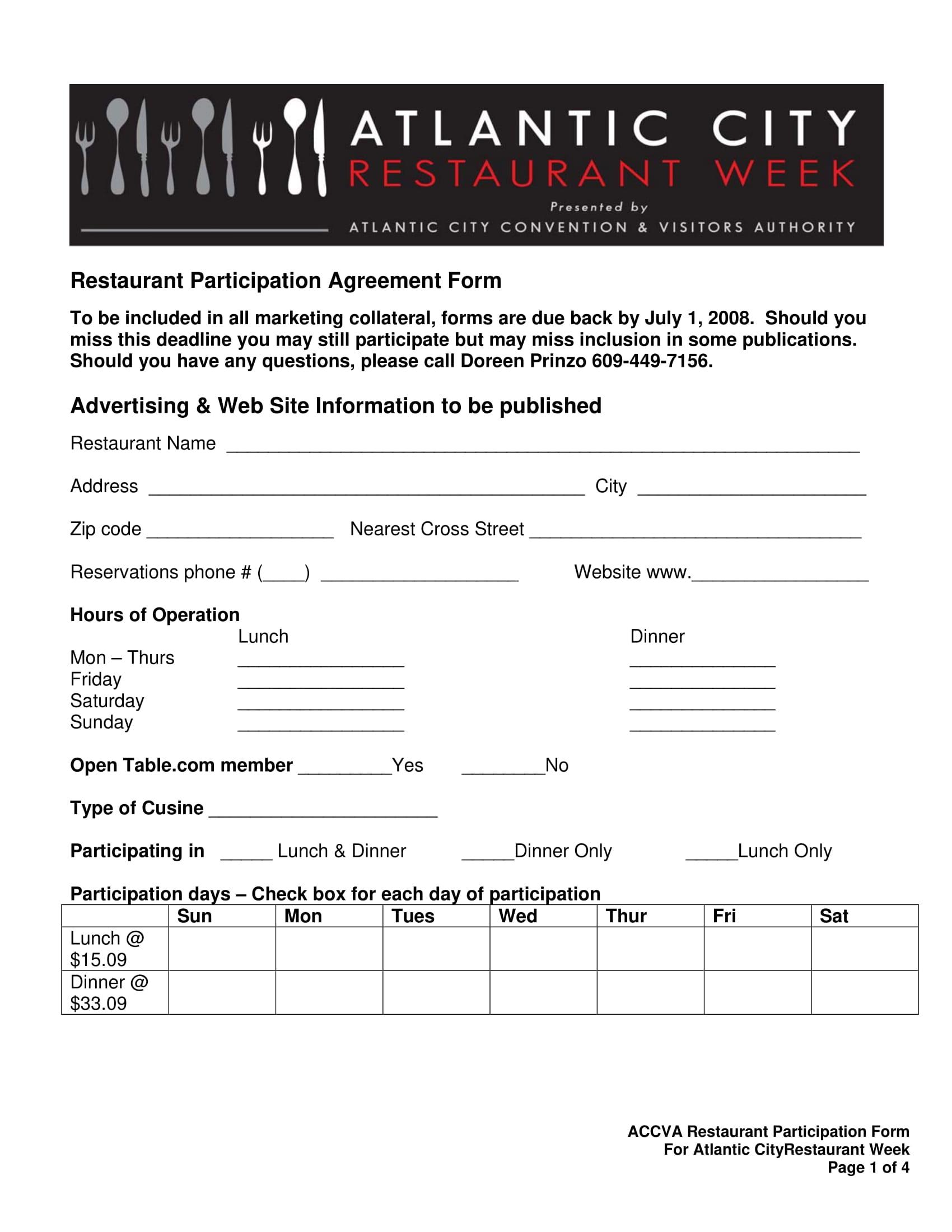 restaurant participation agreement form 1