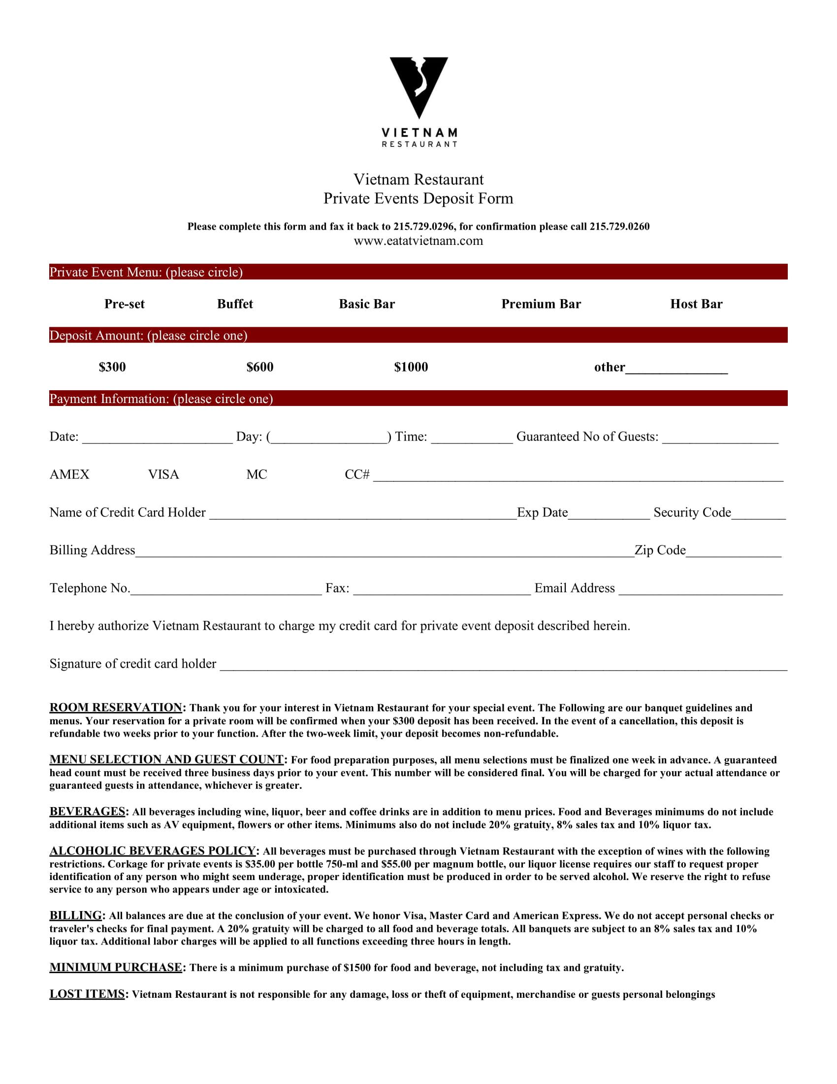 restaurant reservation deposit form 1