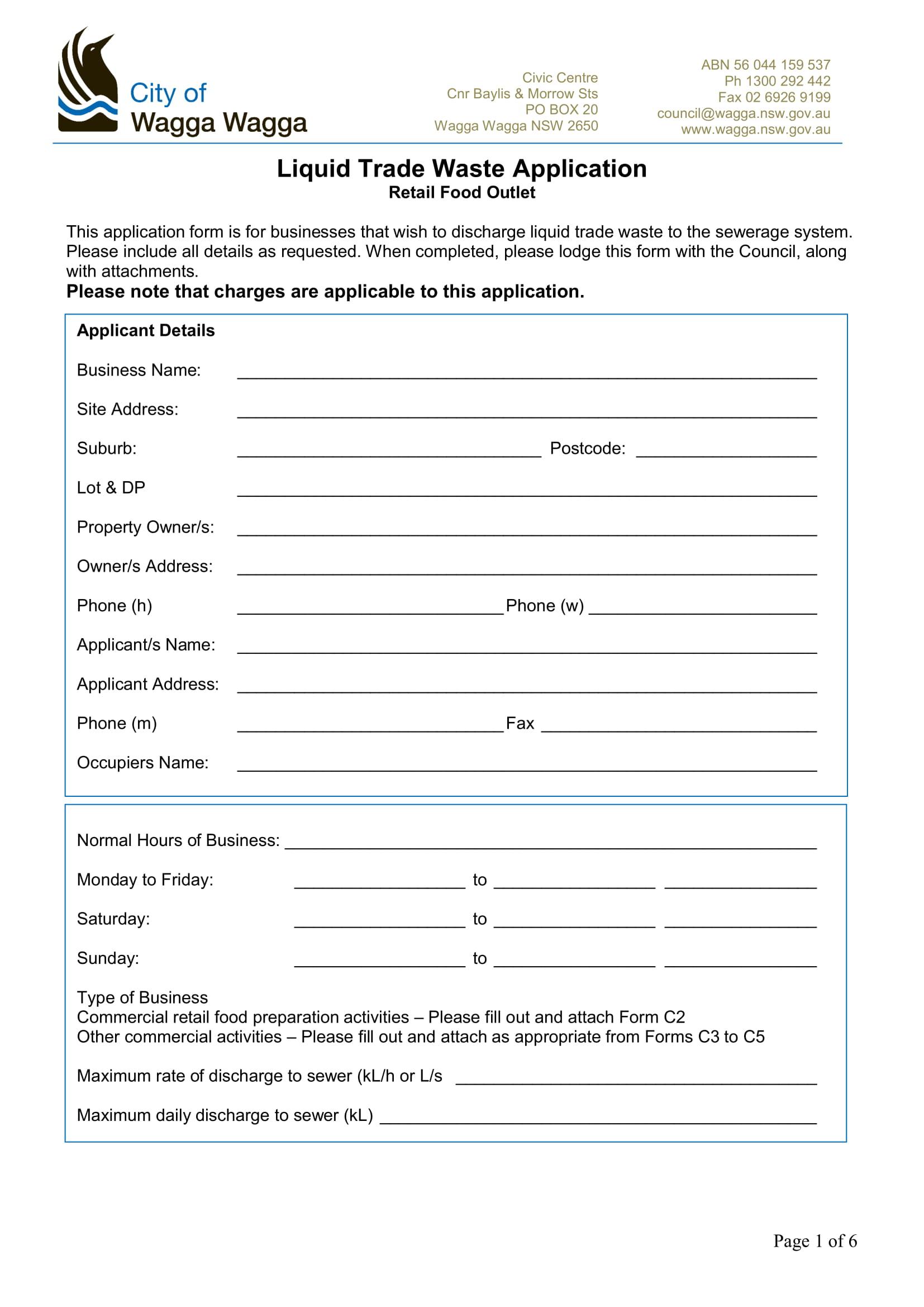 restaurant trade waste application form 1