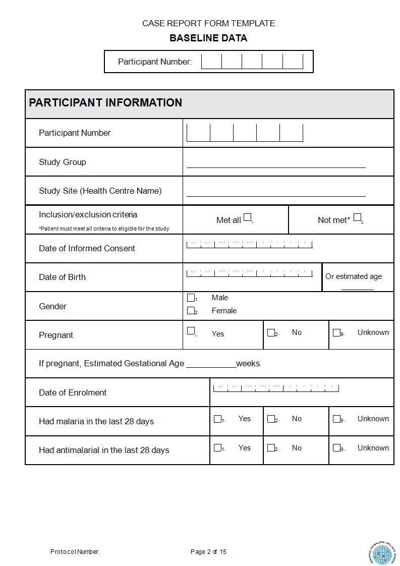 sample for case report form template 1