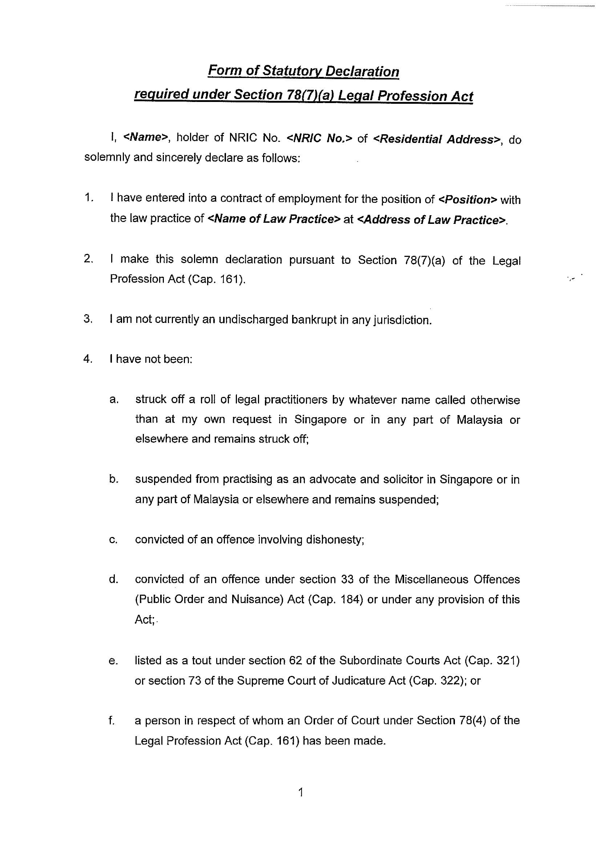 sample for statutory declaration form 1