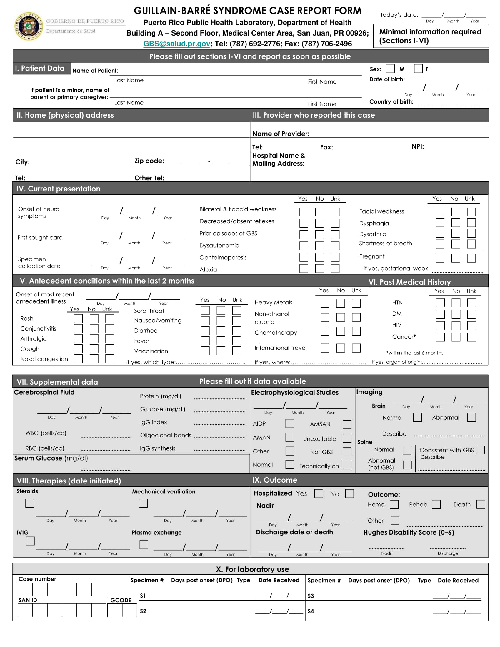 syndrome case report form 1