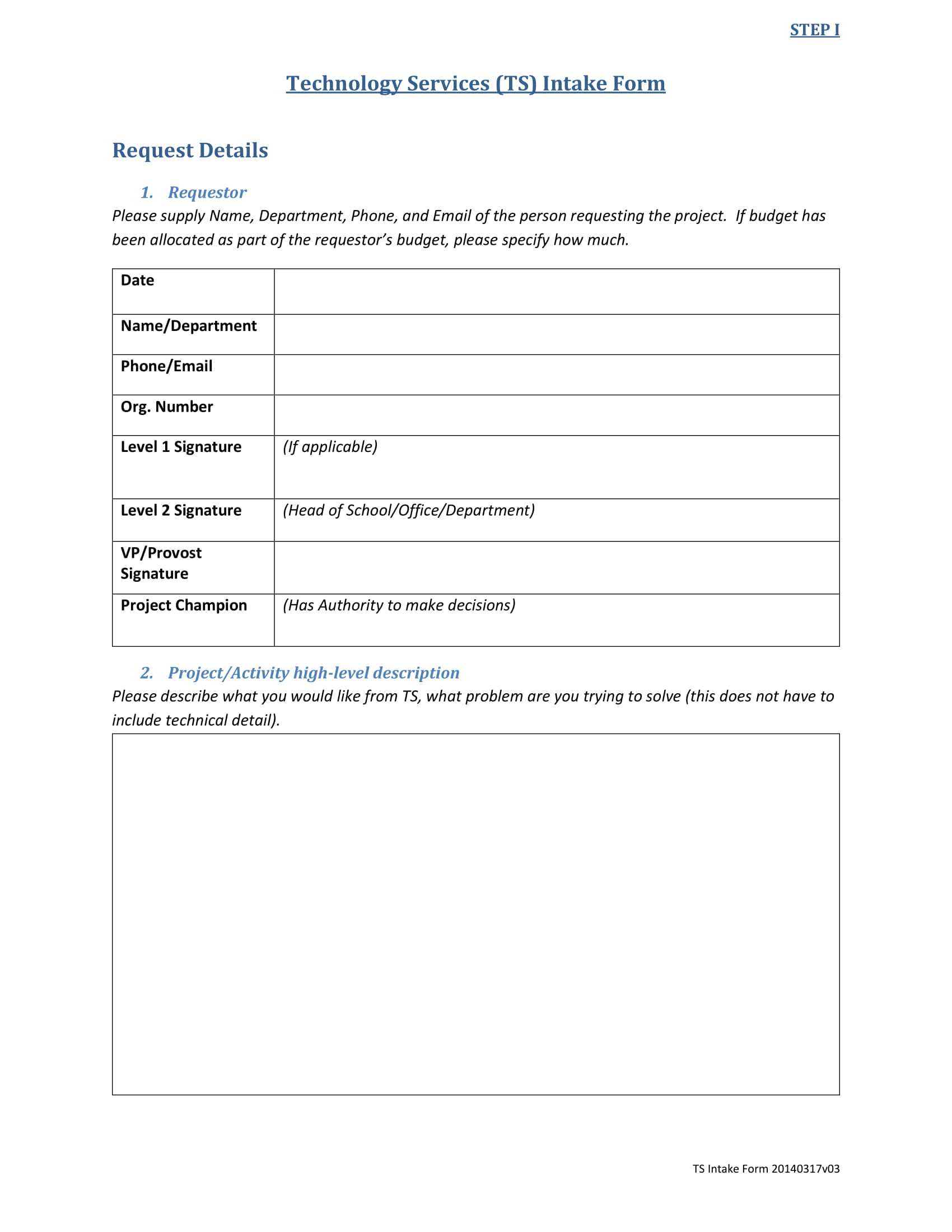 technology services intake form 2