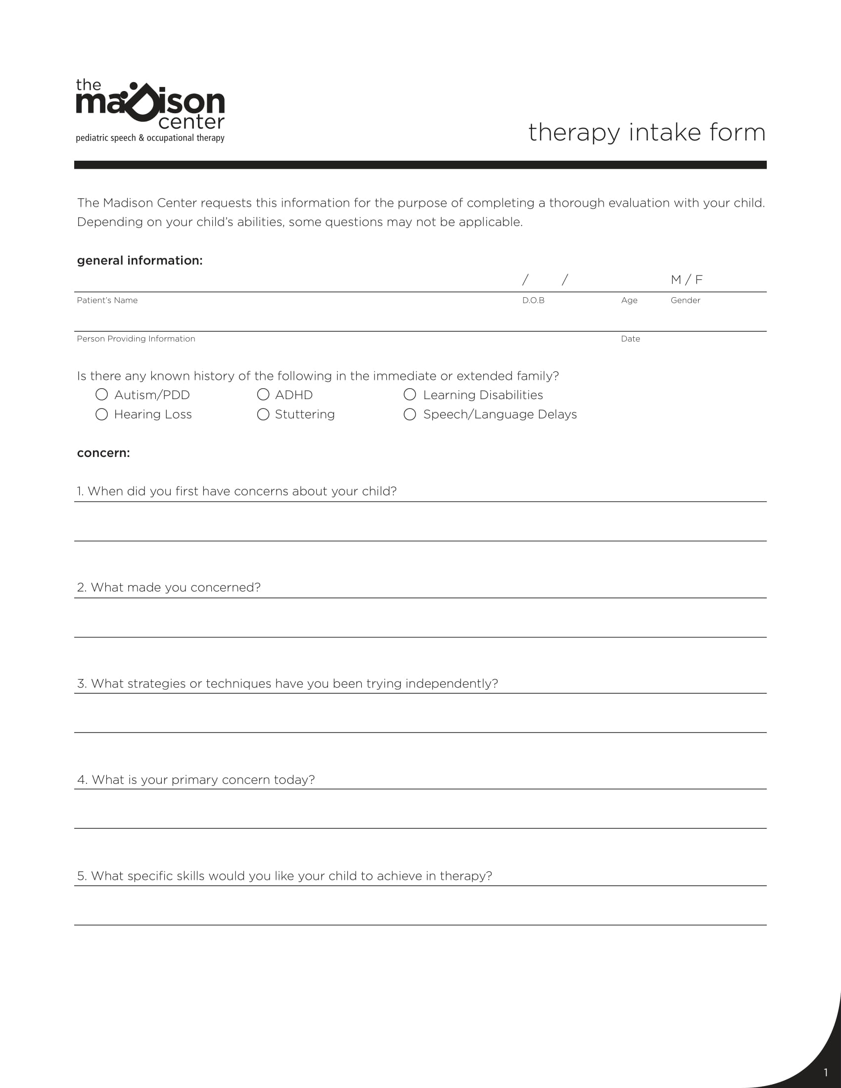 therapy intake form sample 1