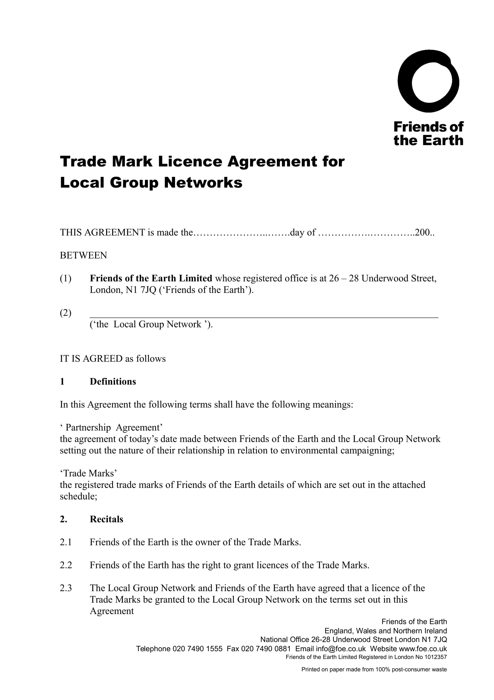 trade mark licence agreement long form 1