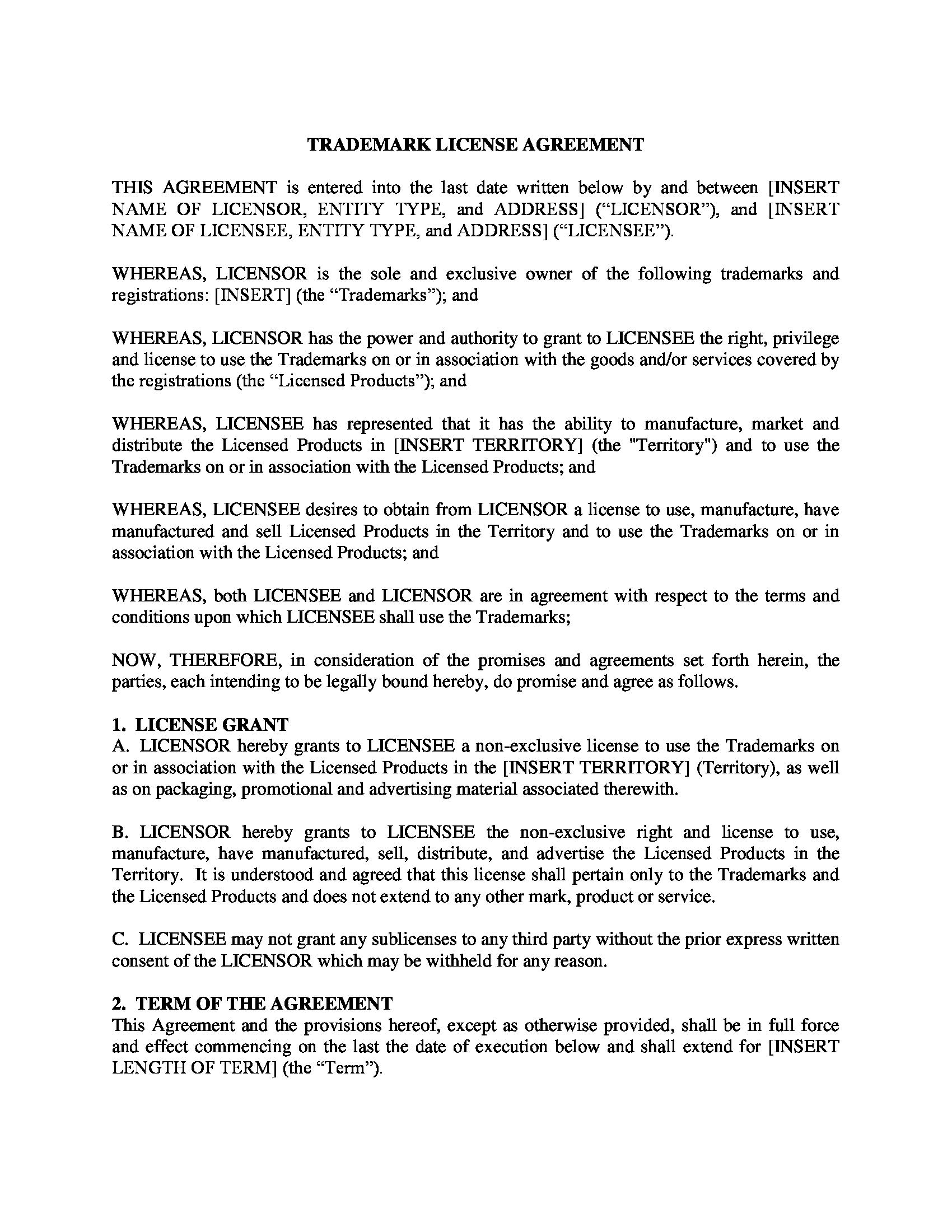 trademark license agreement form 1