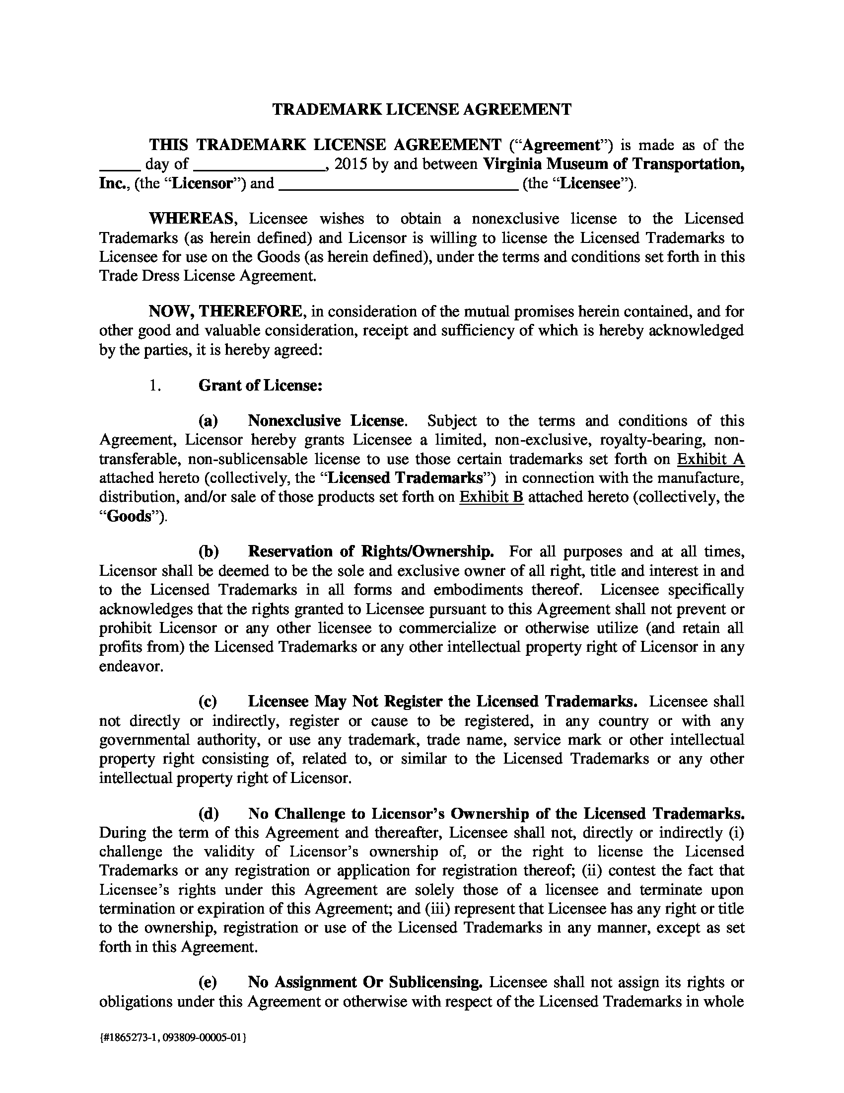 trademark license agreement form sample 1