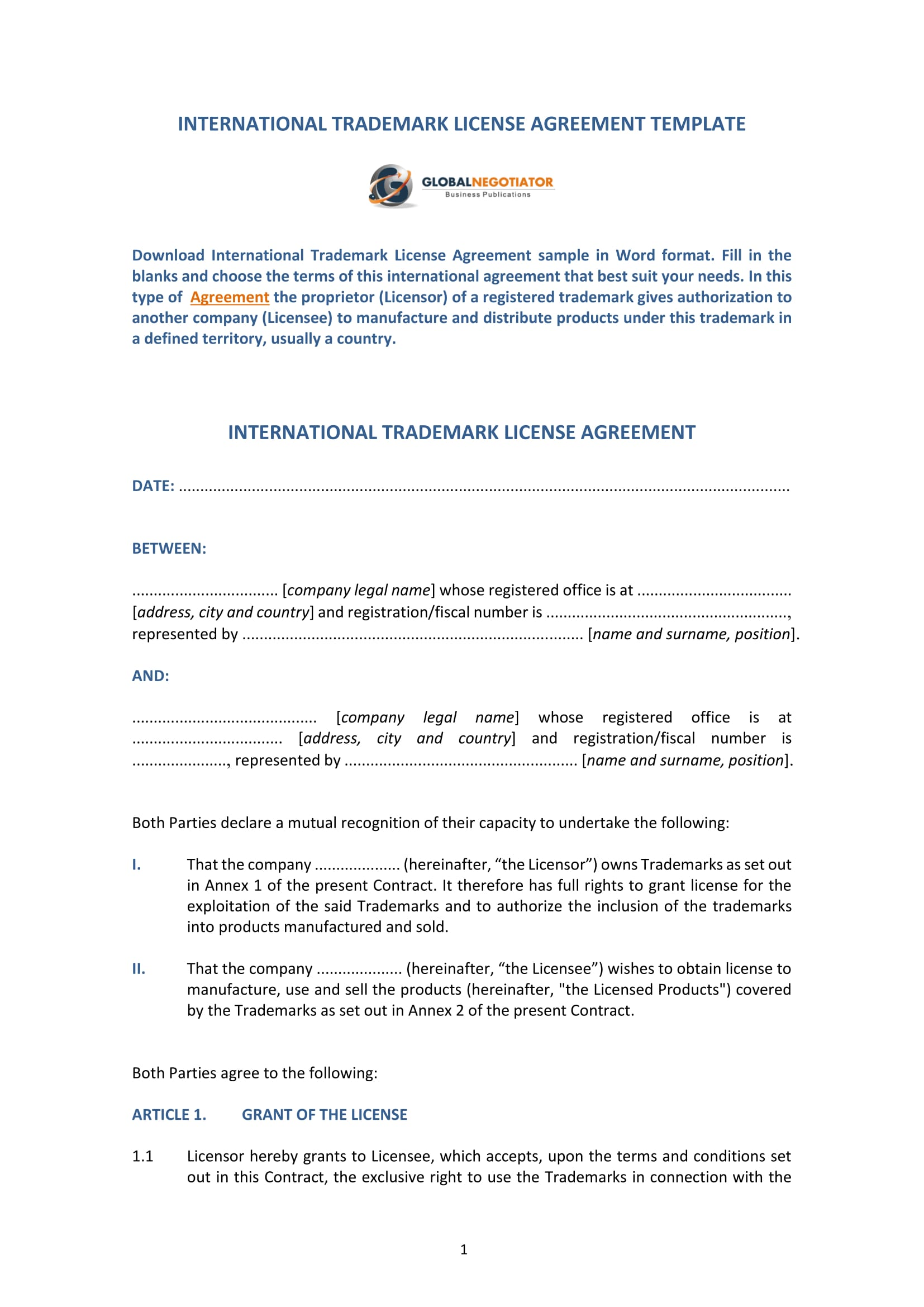 trademark license agreement form template 1