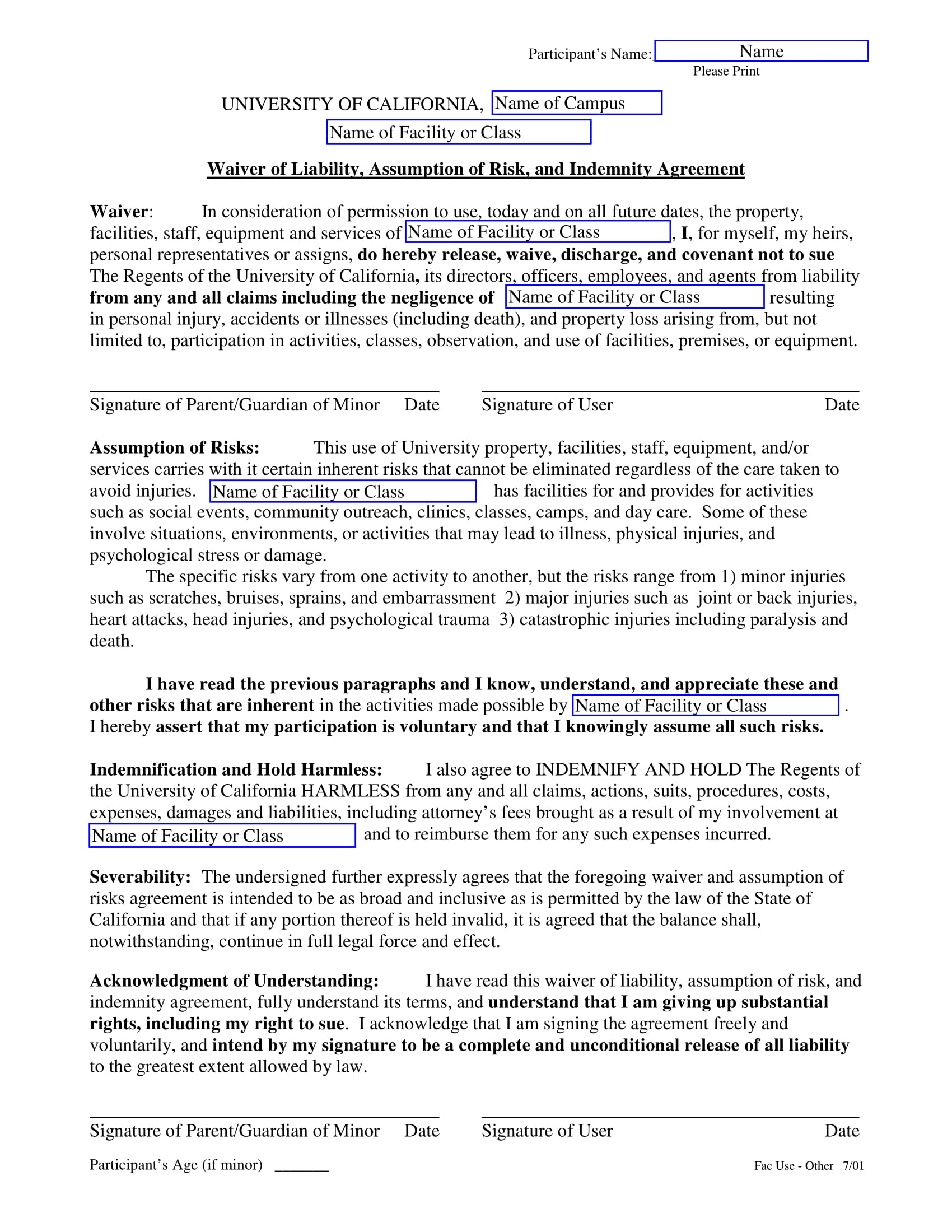 waiver of liability for facility use 1