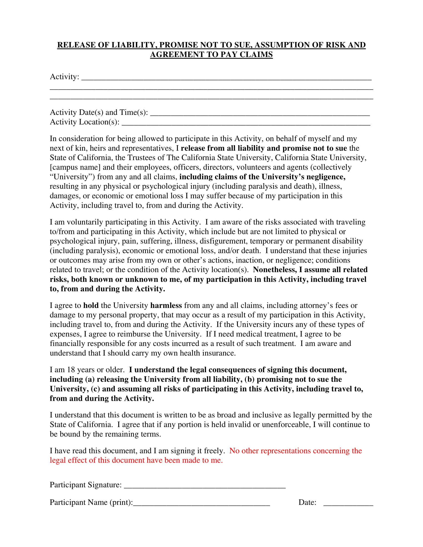 waiver or release of liability form 1