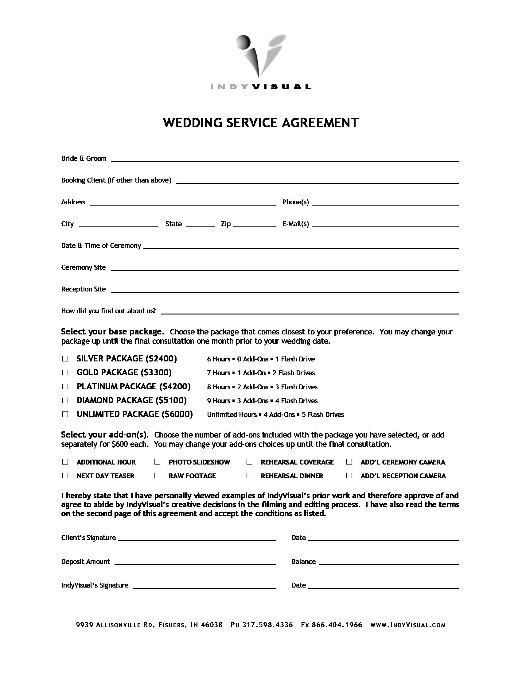 wedding service agreement form 1