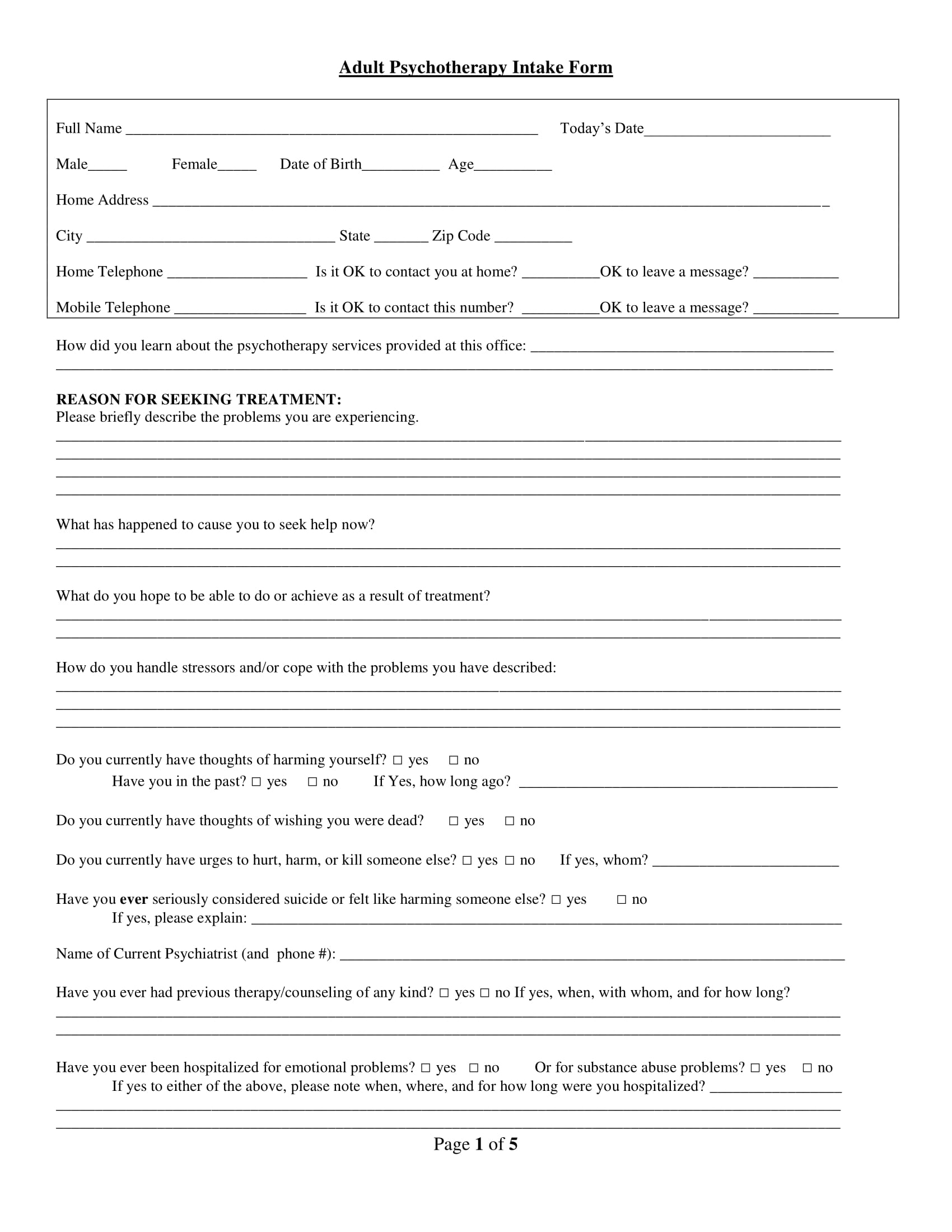 adult psychotherapy intake form 1