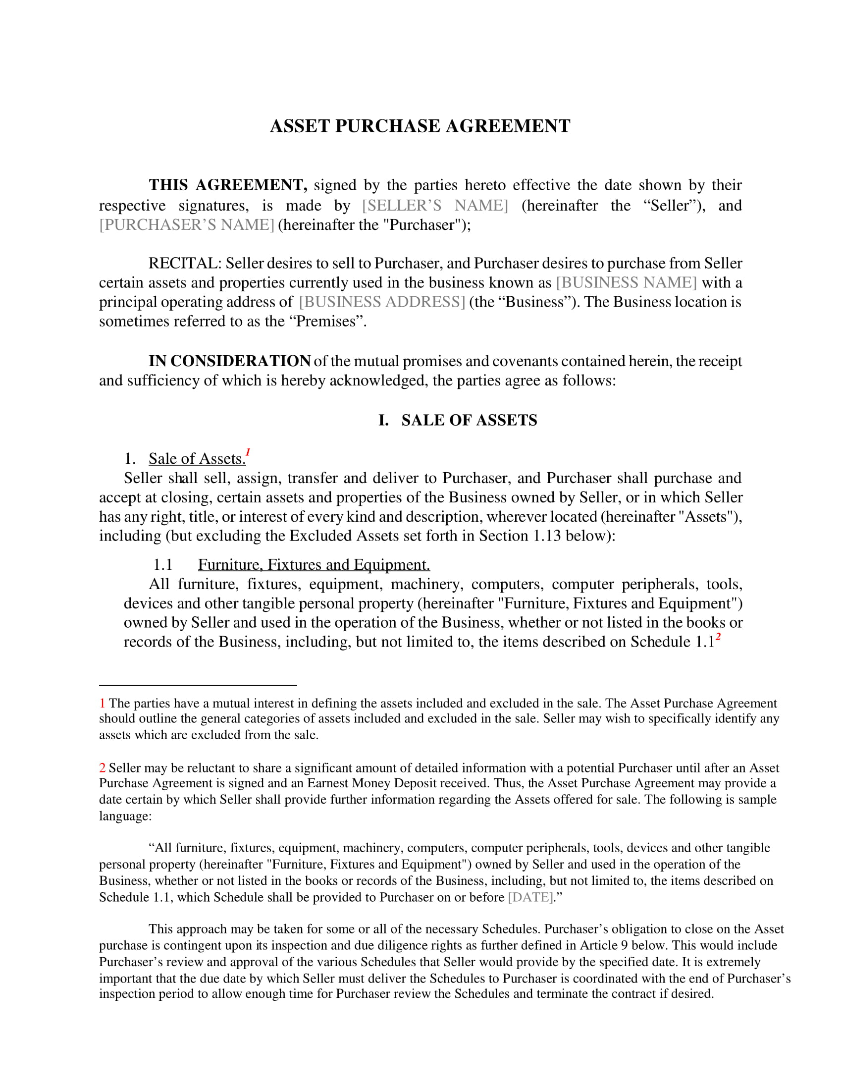 Free 5 Asset Purchase Agreement Contract Forms In Pdf Doc