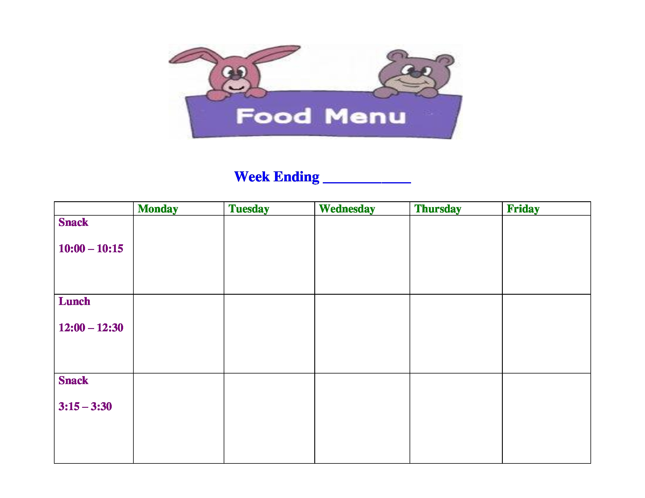 29 menu forms pdf doc for Blank daycare menu template