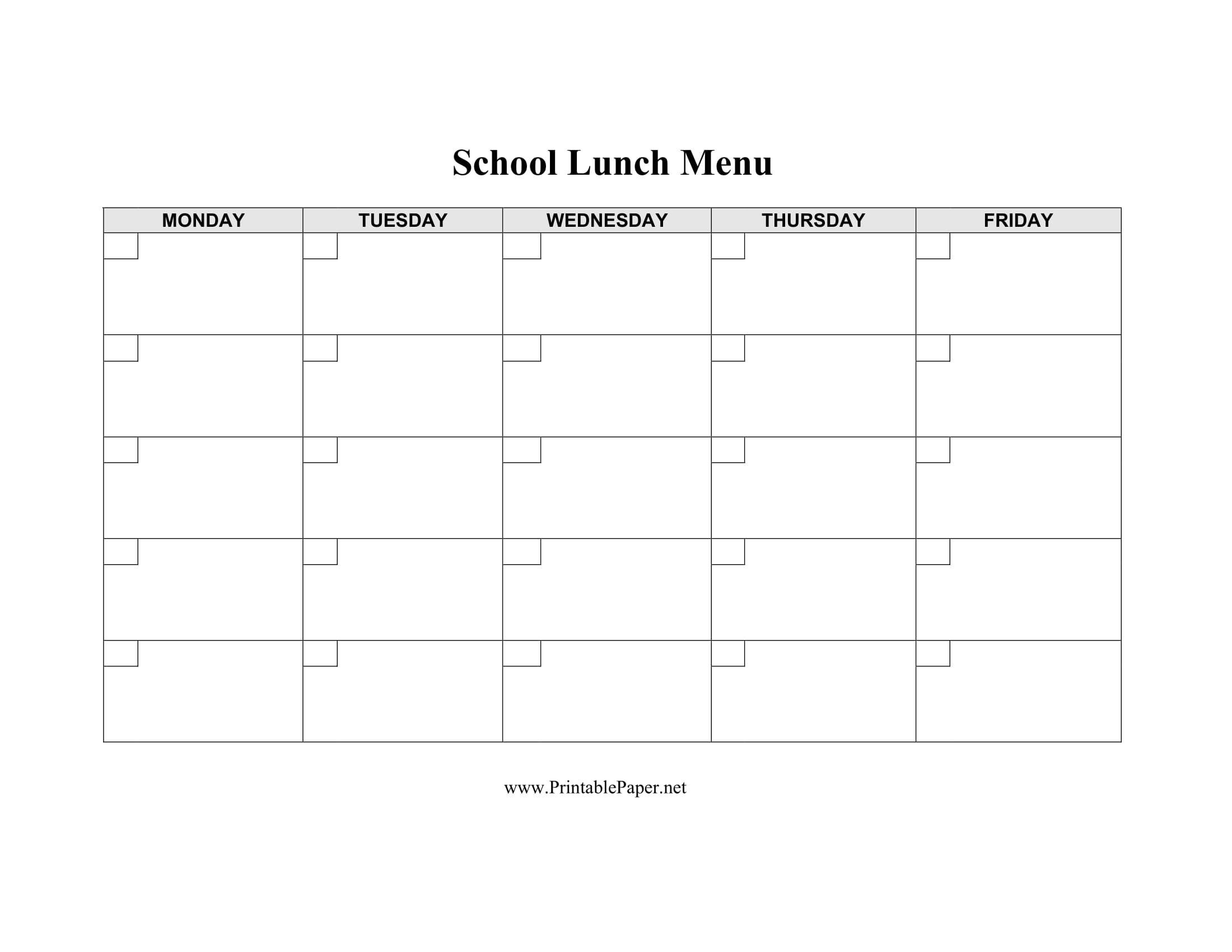 blank school lunch menu template 1