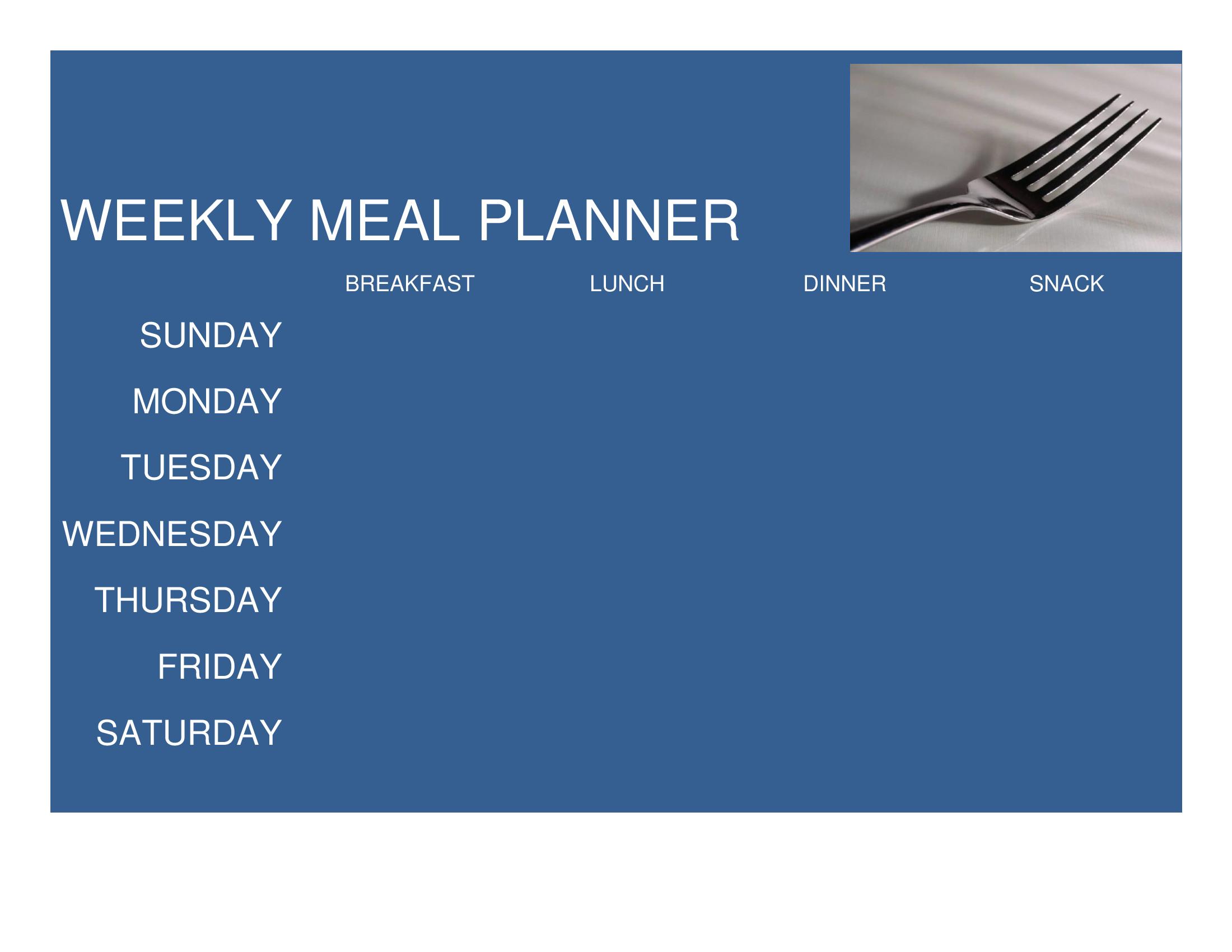 blank weekly menu template