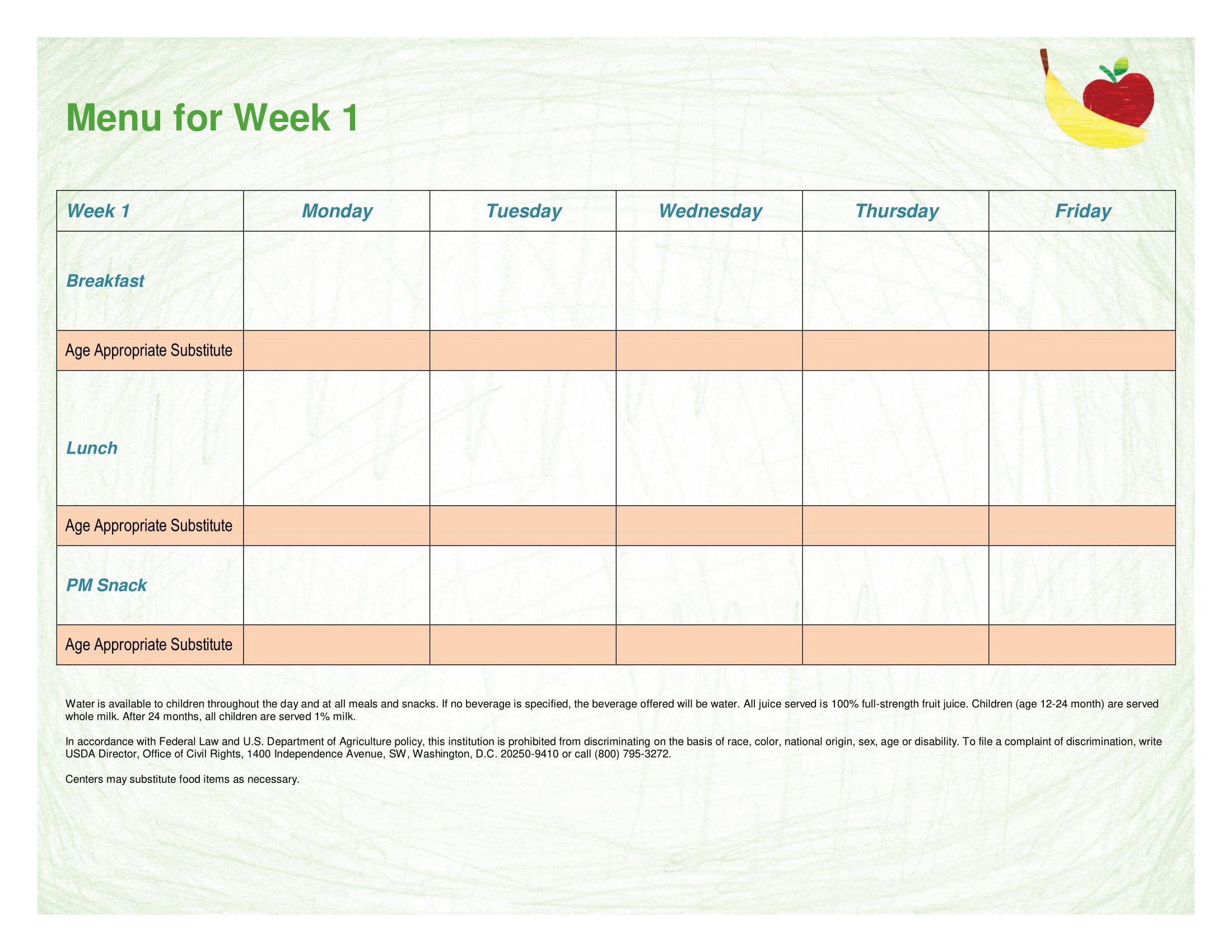 cacfp weekly menu form 1