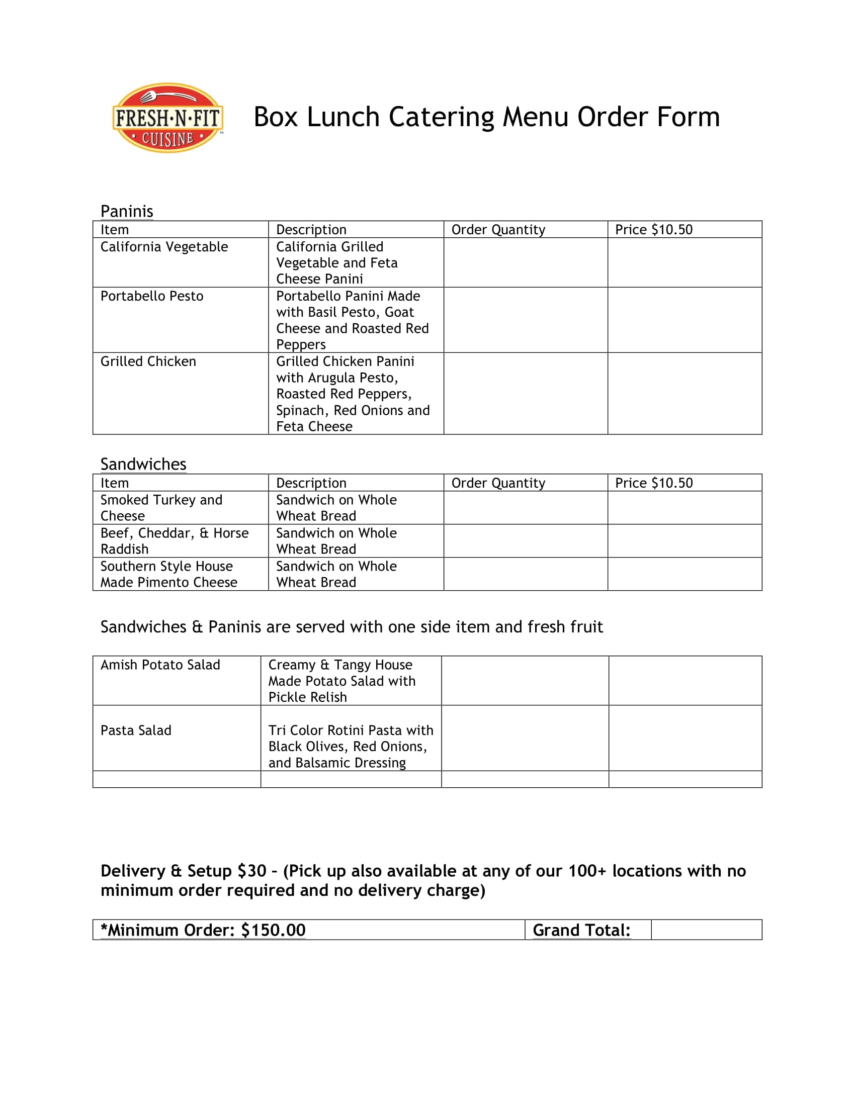 catering menu order form 1