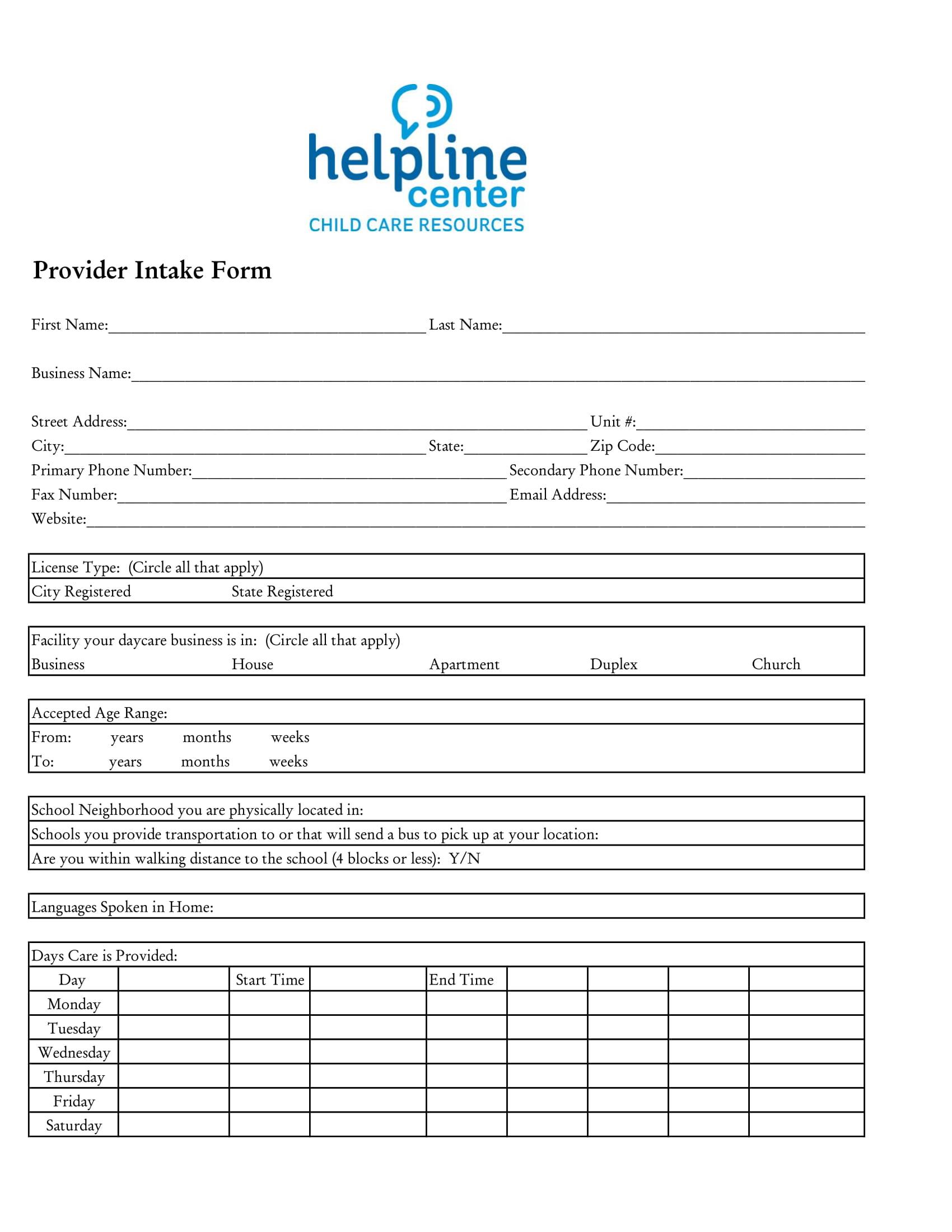childcare provider intake form 1