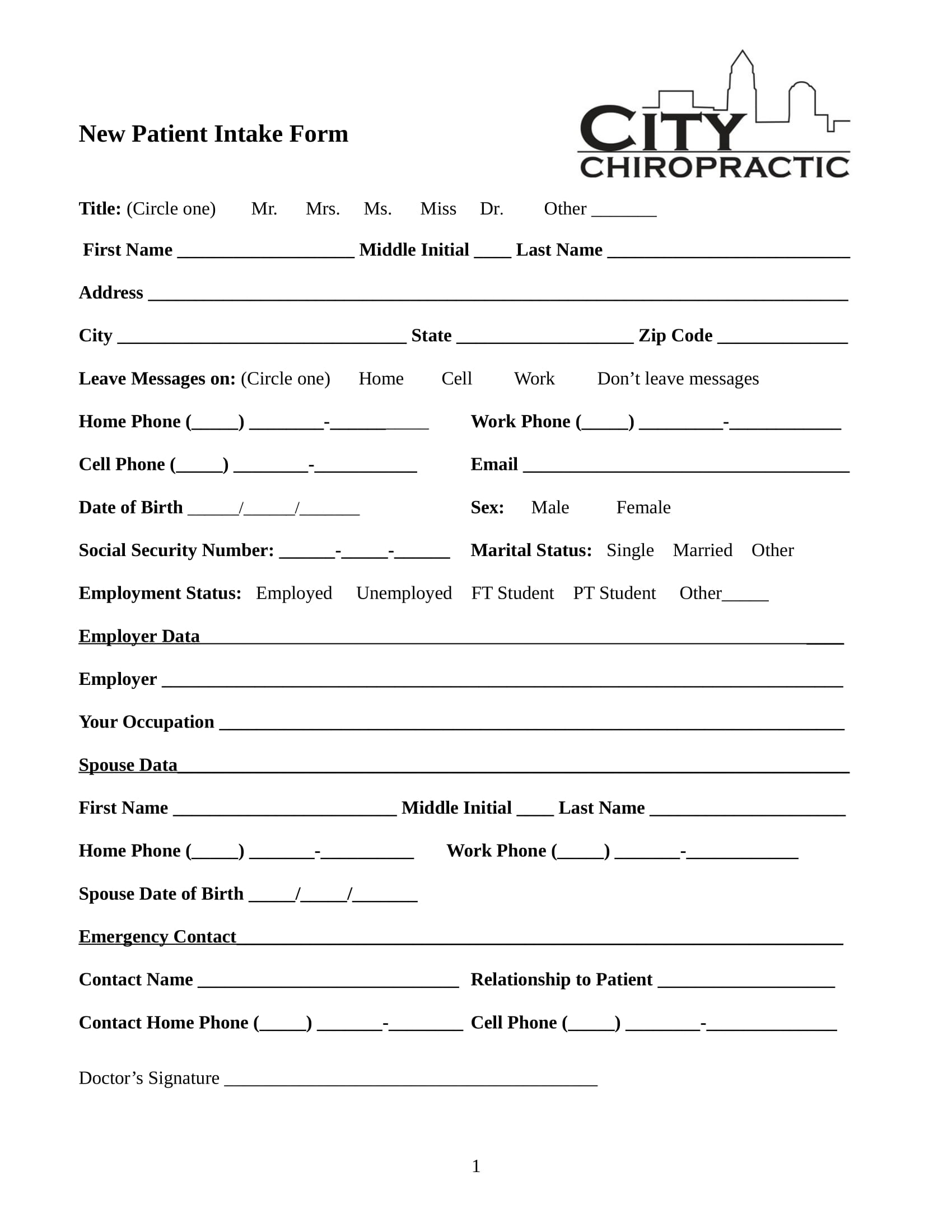 chiropractic new patient intake form in doc 1