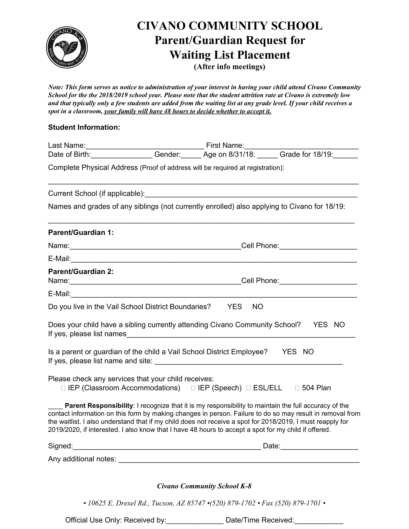 community school waiting list request form 1