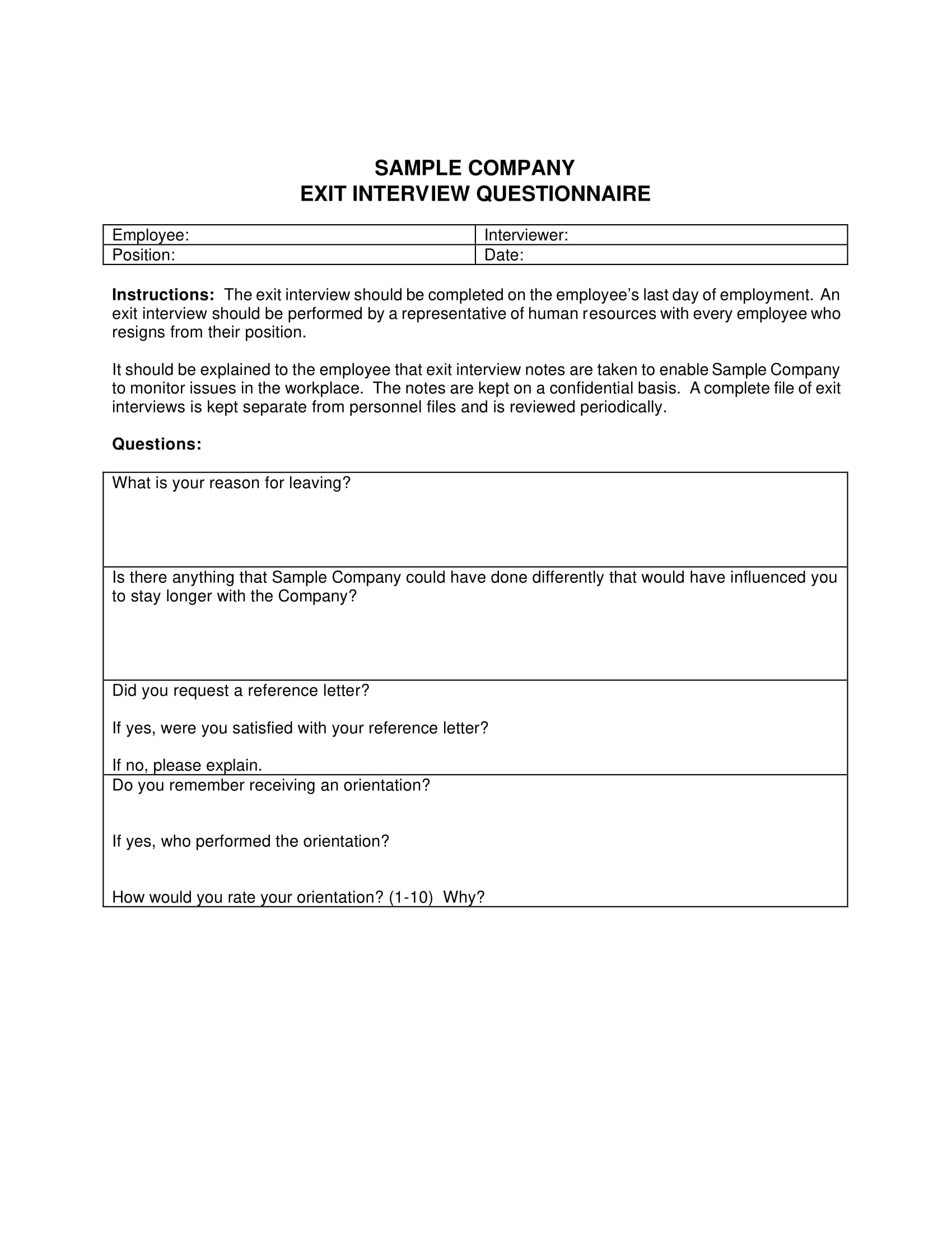 company exit interview questionnaire 1