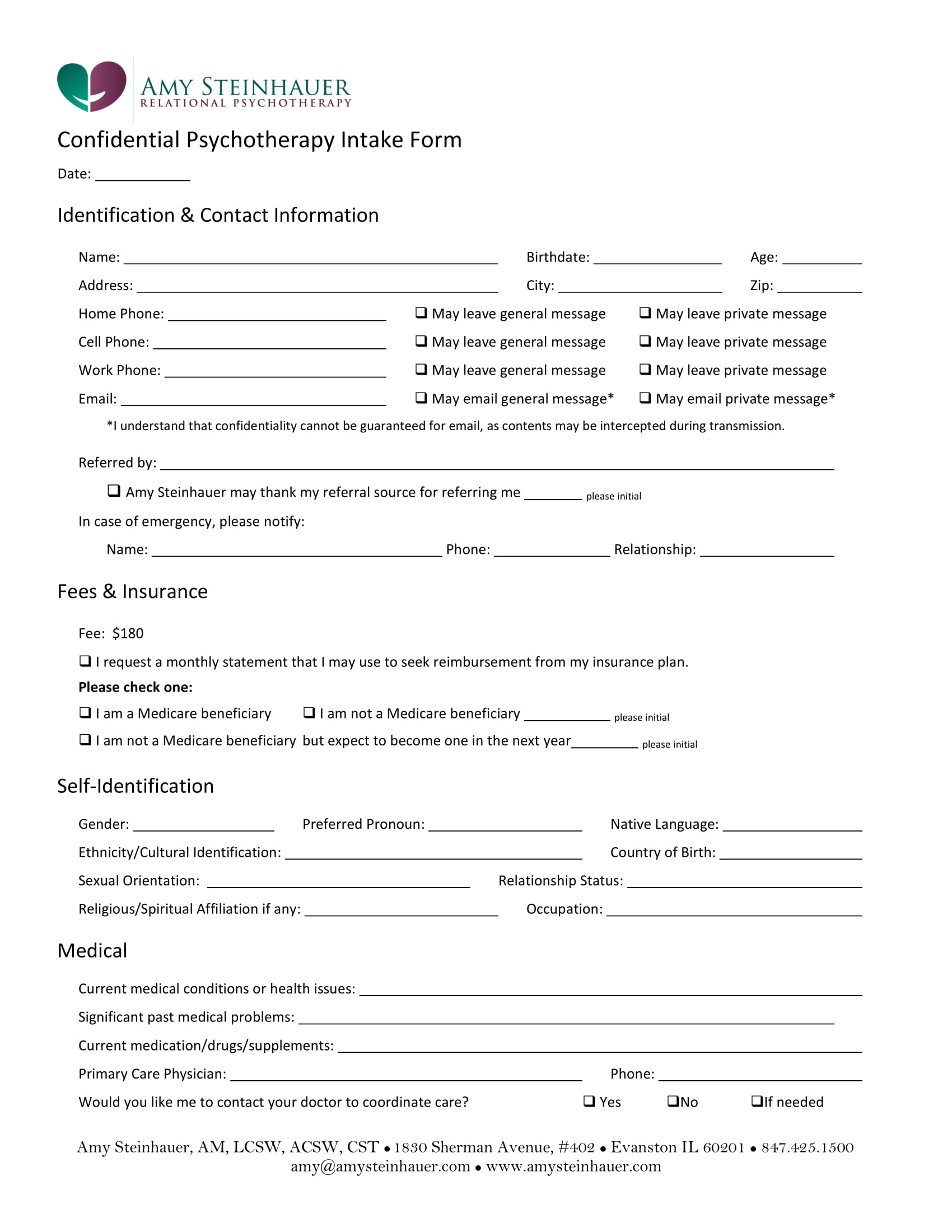 confidential psychotherapy intake form 1