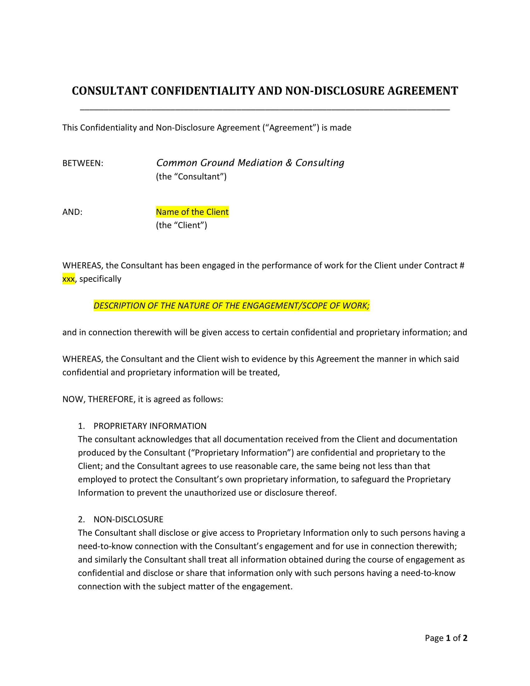 10 Confidentiality Agreement Contract Forms Pdf