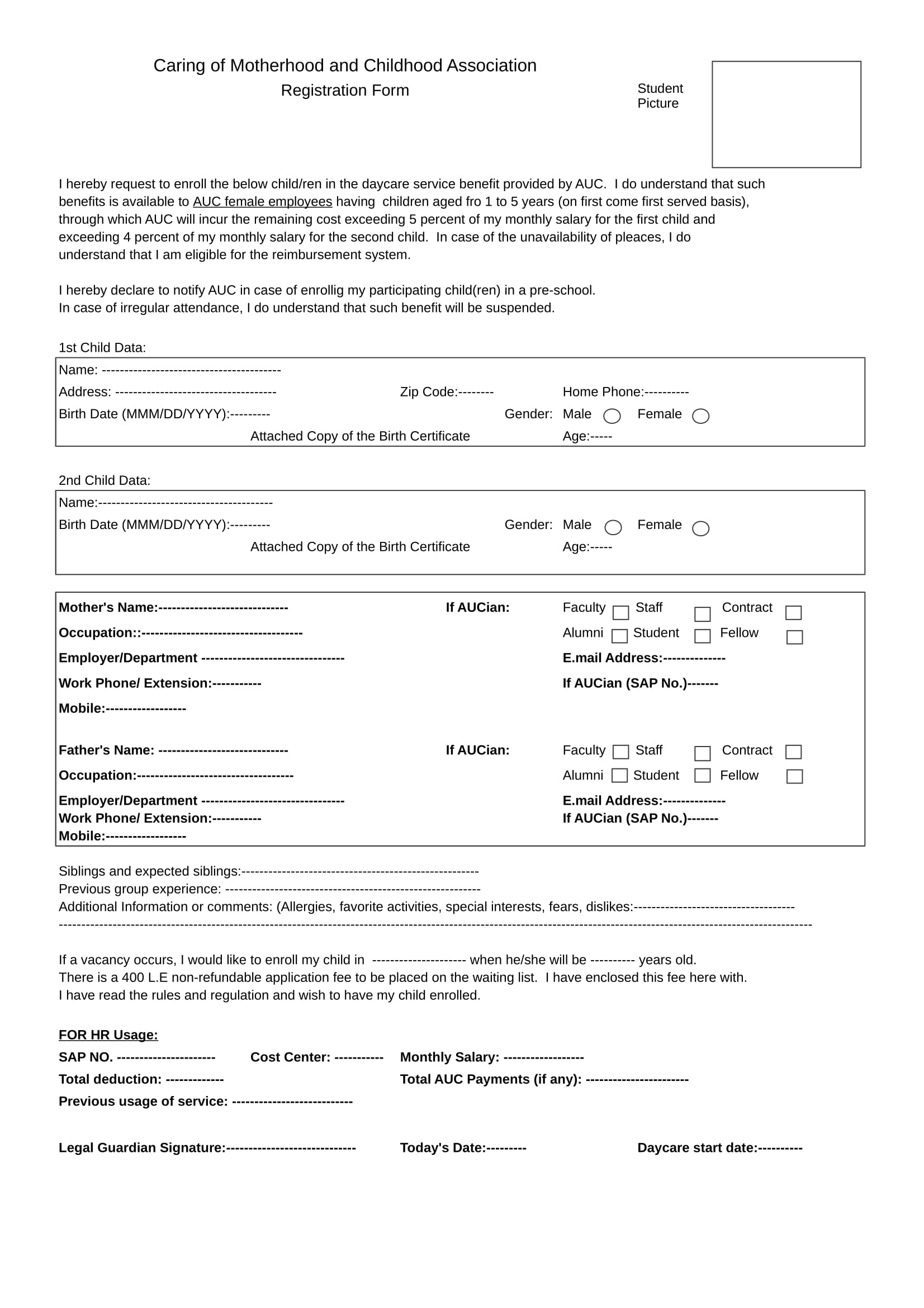 daycare waiting list registration form in xls 1