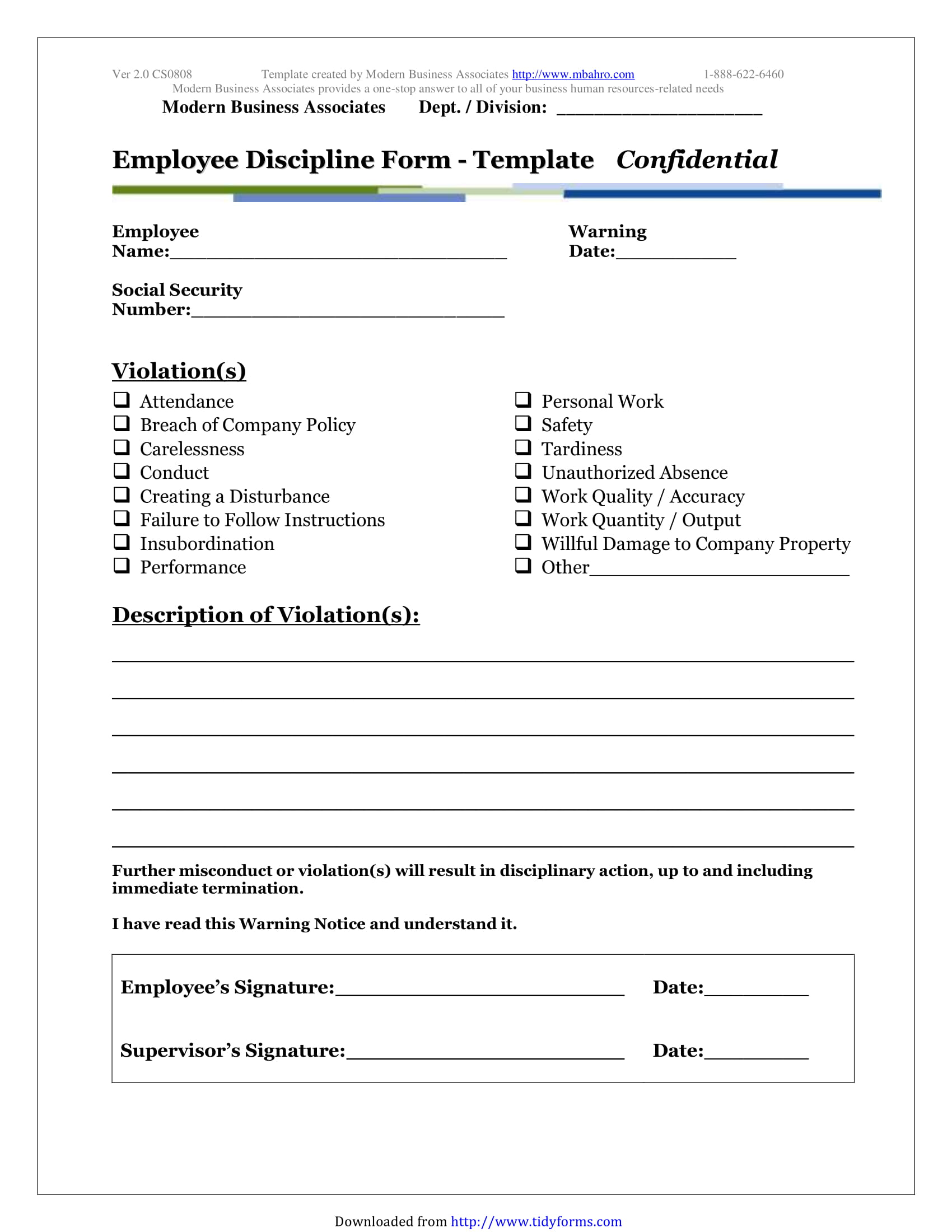 5 restaurant employee write up forms pdf written warning discipline