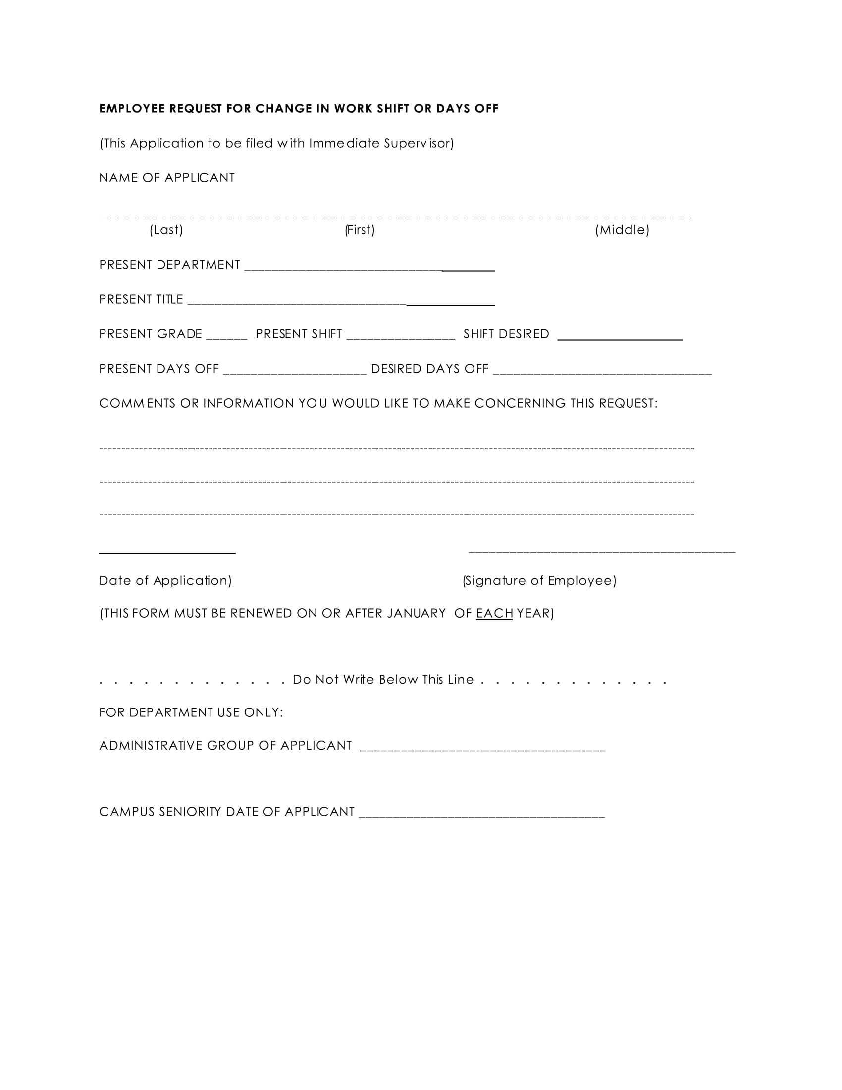 Shift Change Request Forms In Pdf