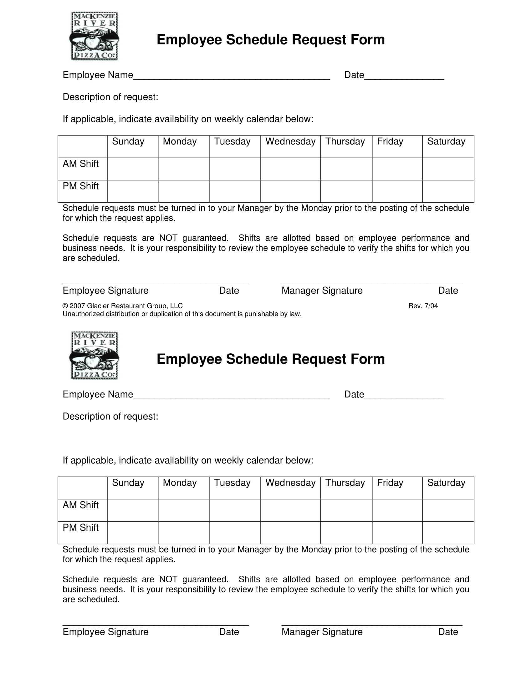 employee schedule request form 1