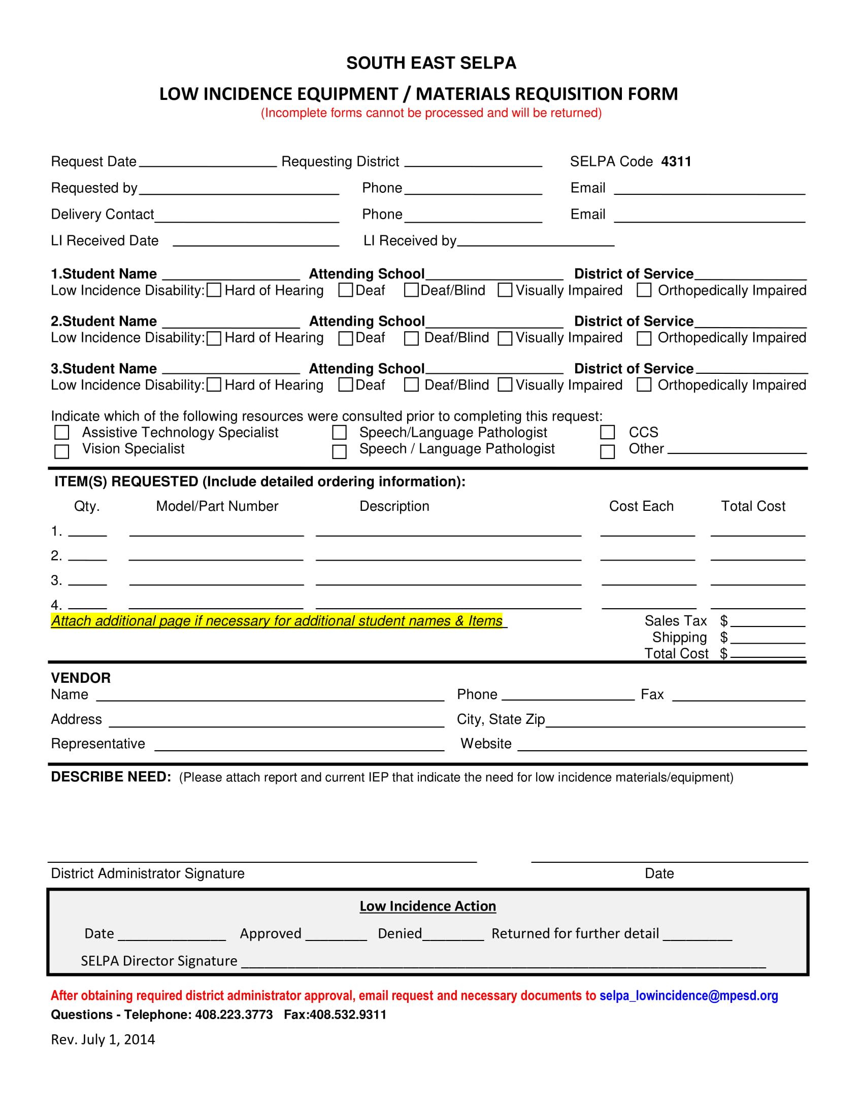 equipment or material requisition form 1