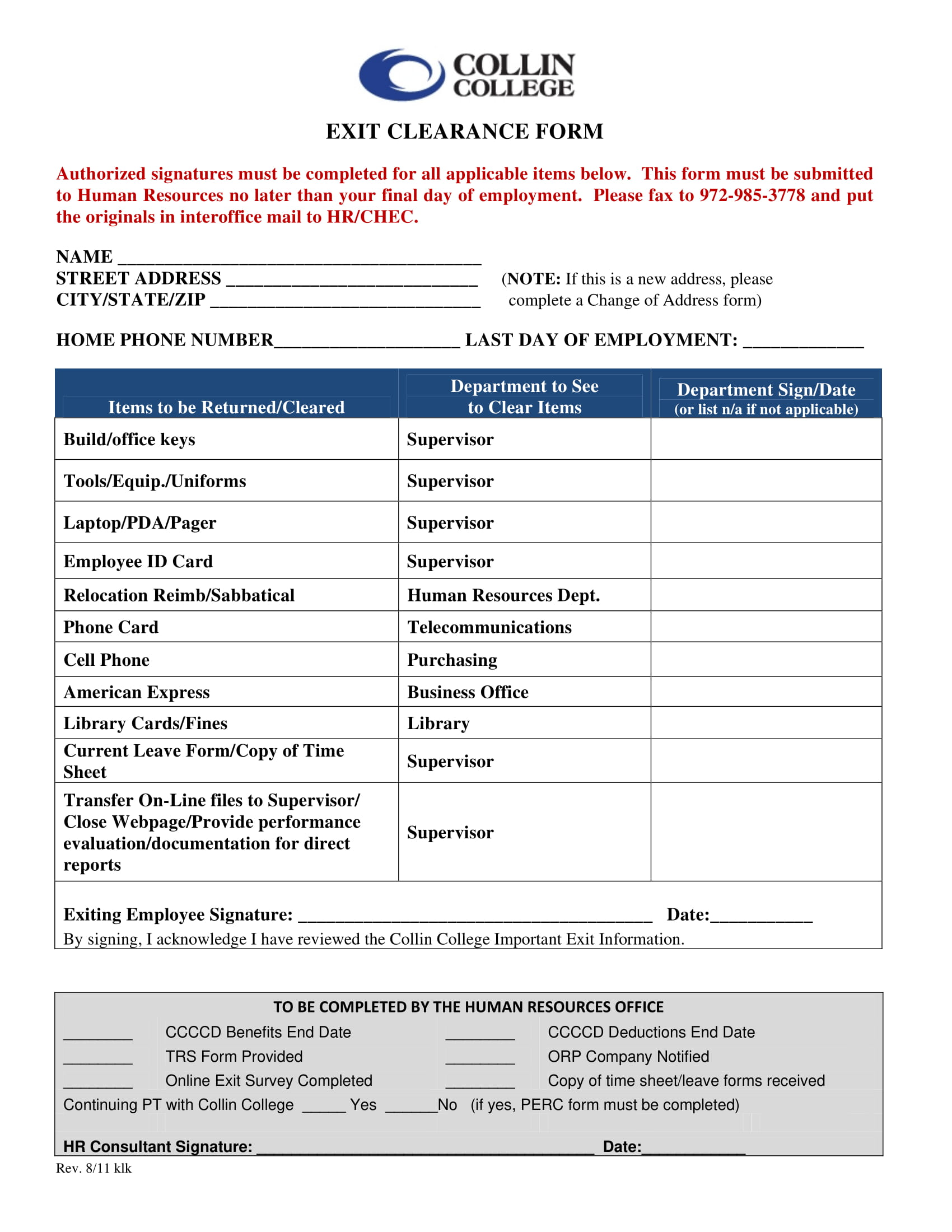 exit clearance form template 1