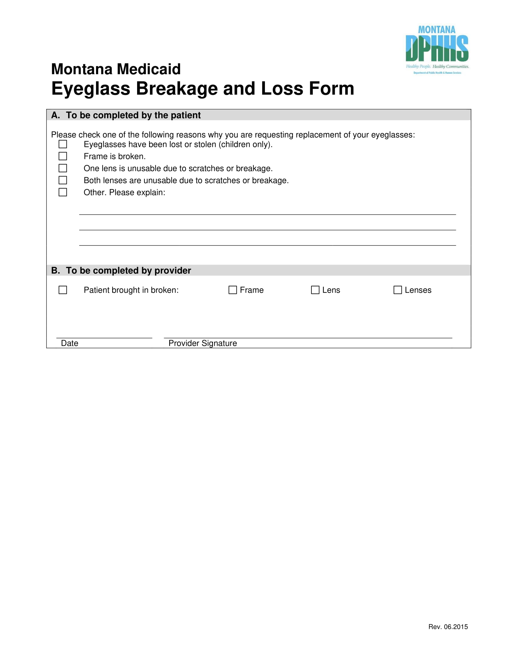 eyeglass breakage and loss form