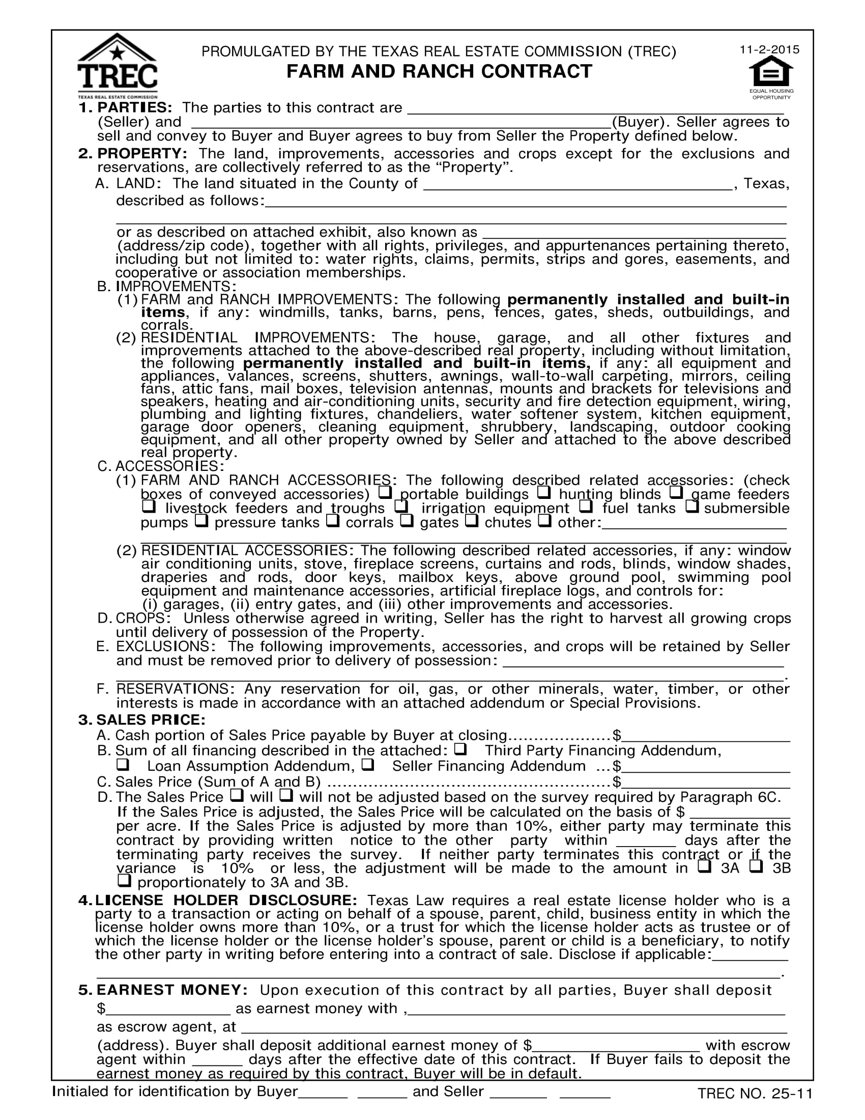 farm and ranch contract form 01