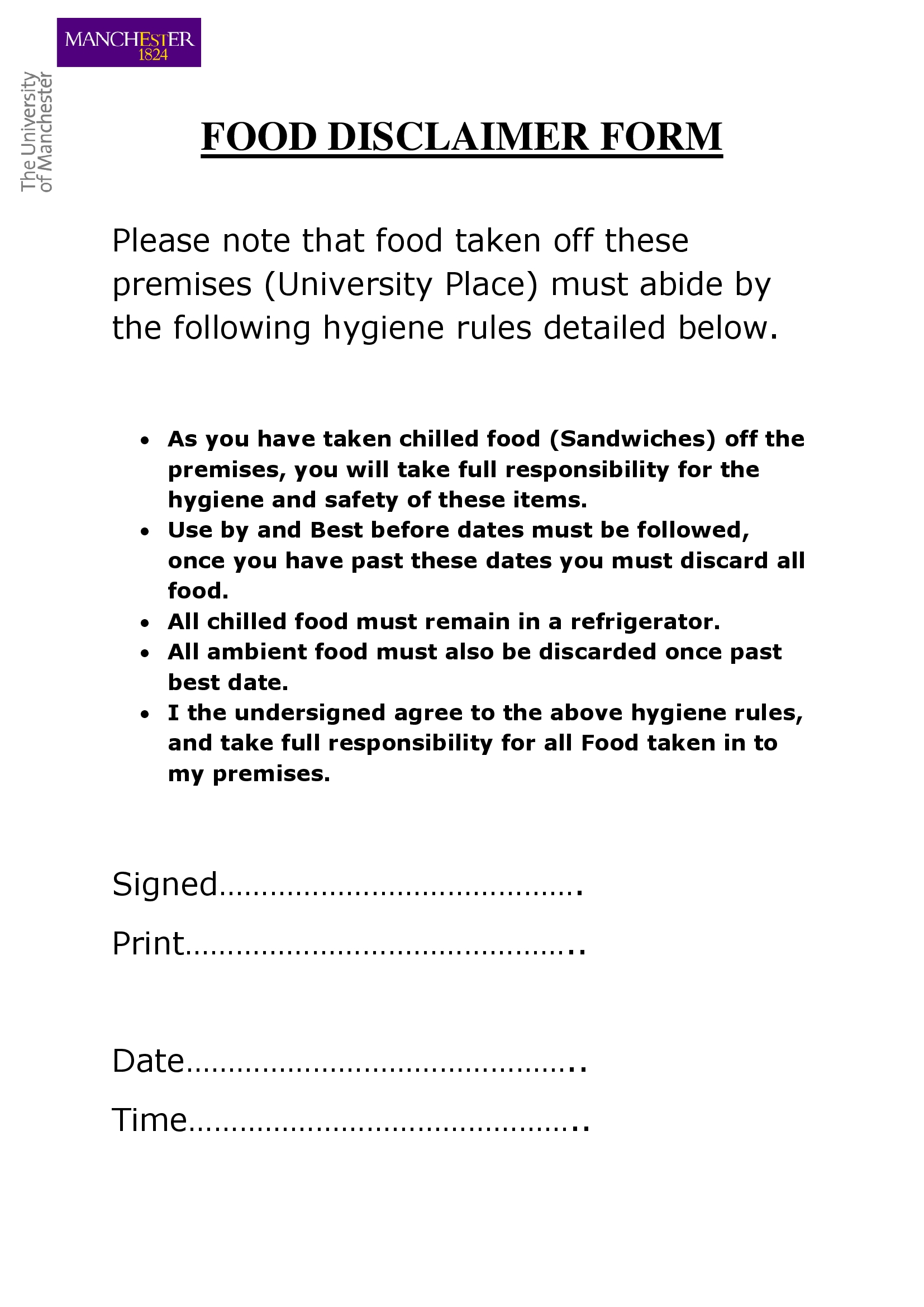 food disclaimer form in doc