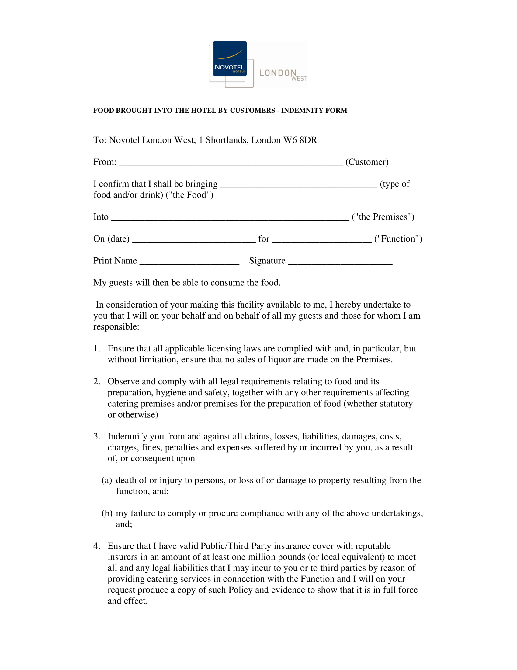 food disclaimer form in pdf 1