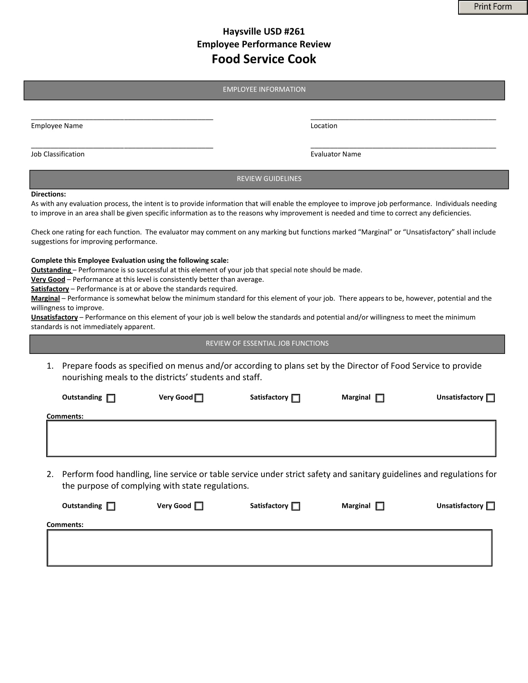 food service cook performance evaluation form 1