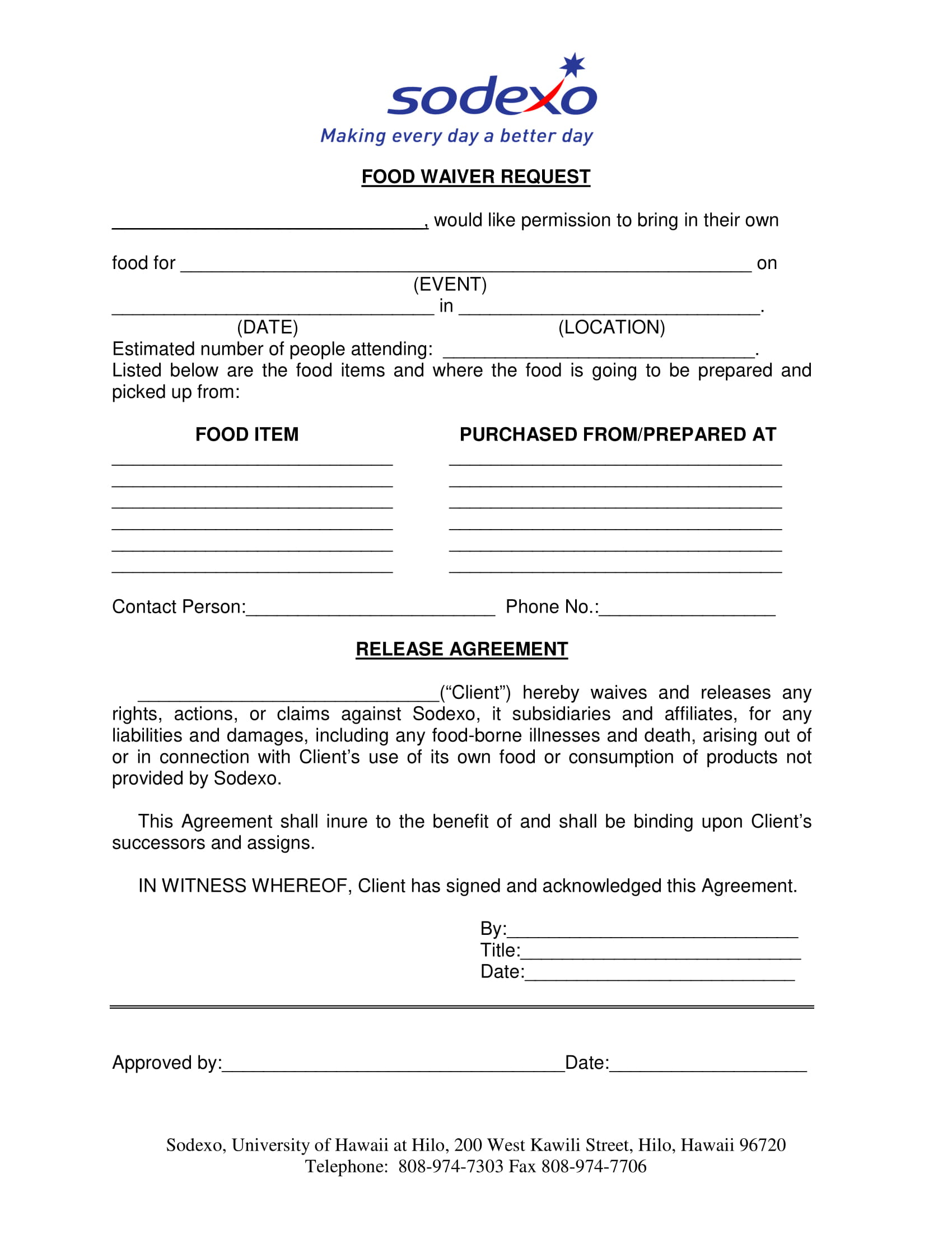 food waiver request form 1
