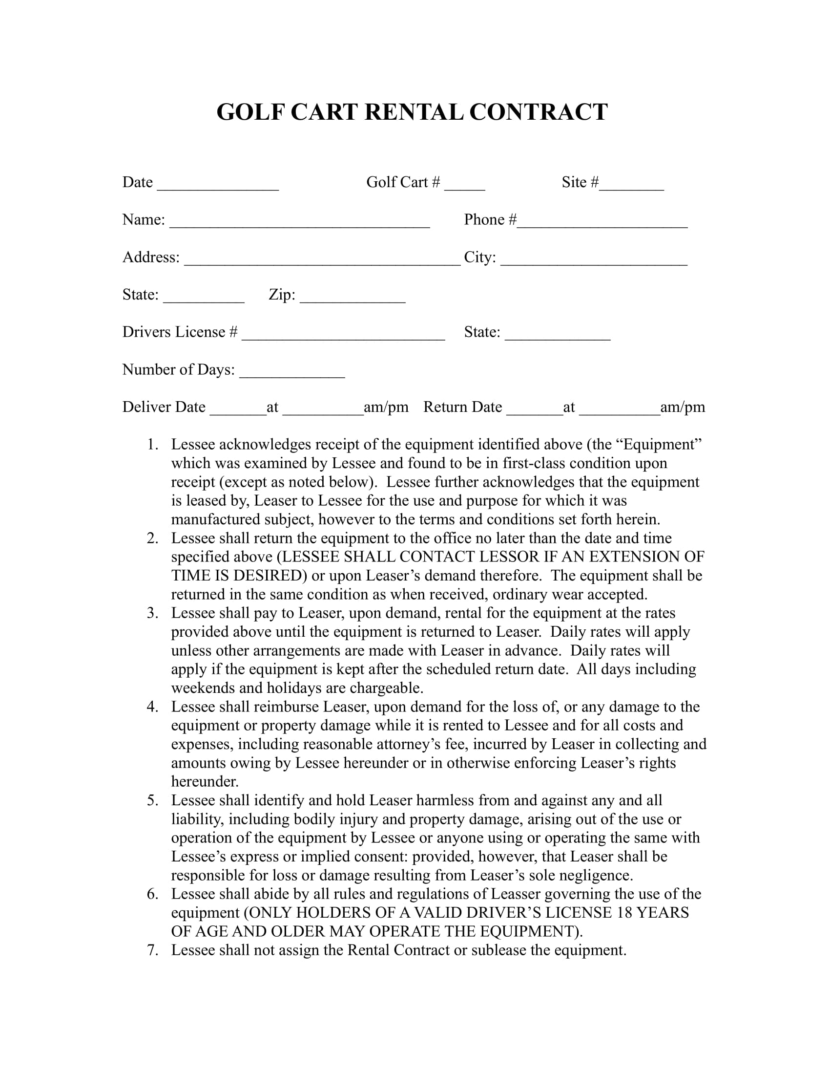 Free 7 Golf Contract Forms Pdf