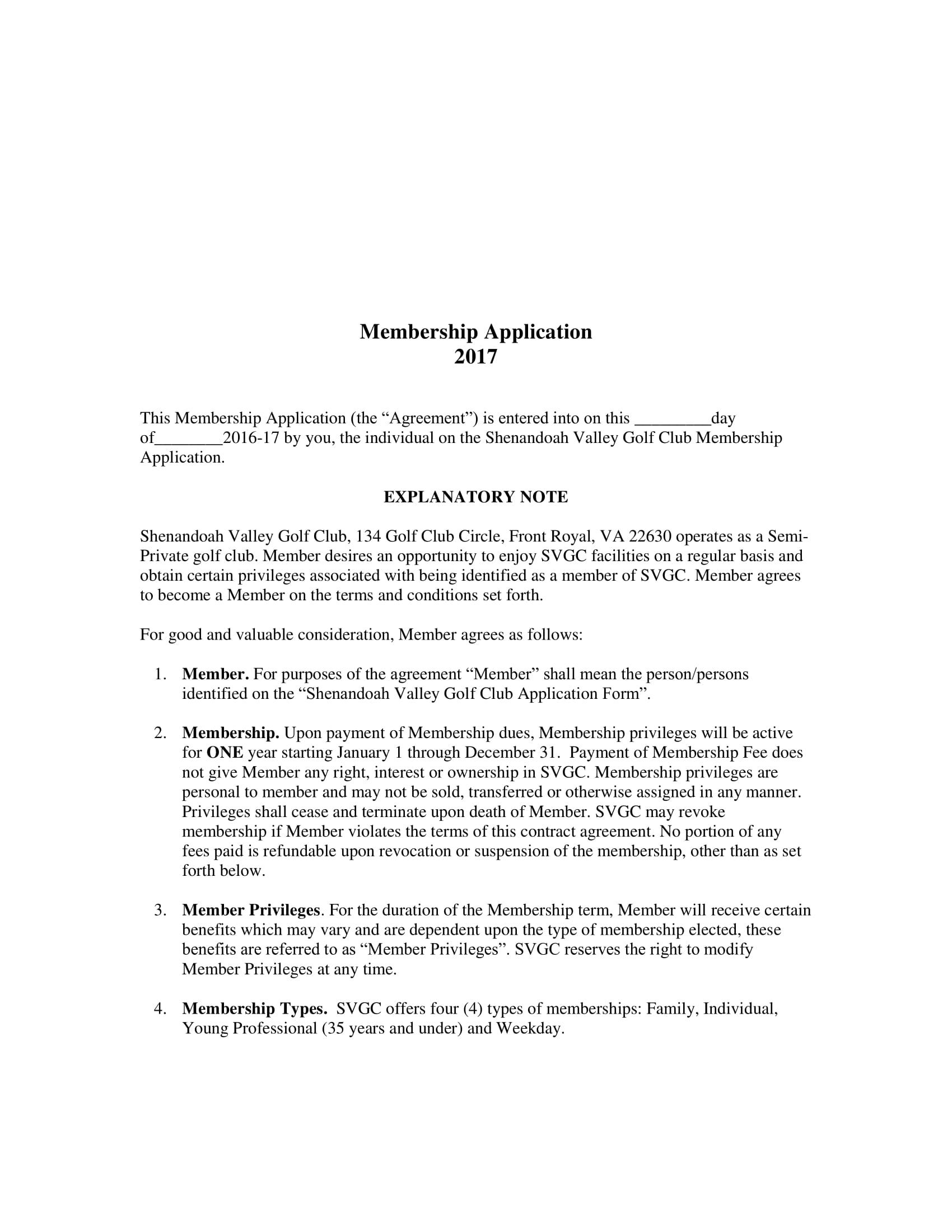 golf membership application contract form 1