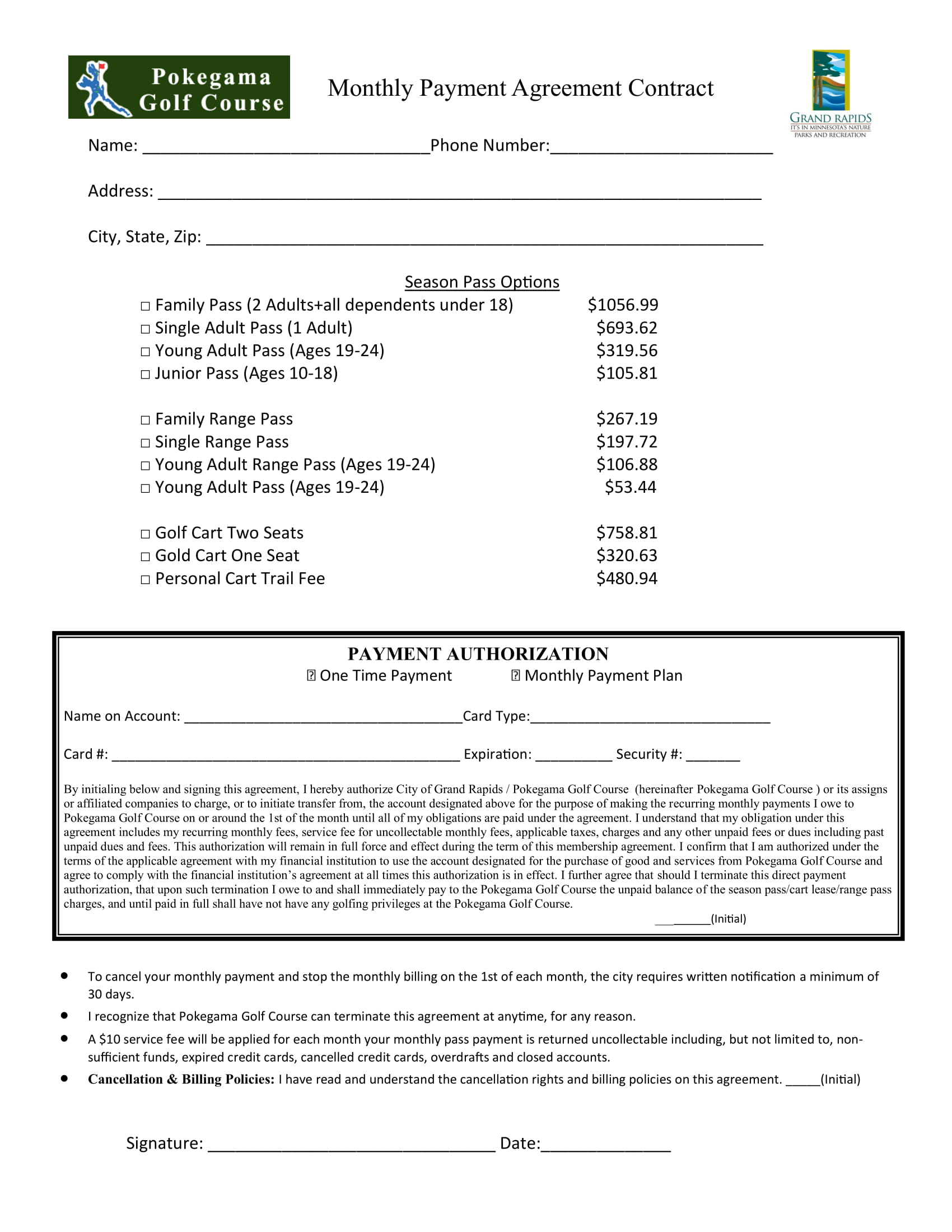 golf monthly payment agreement contract form 1