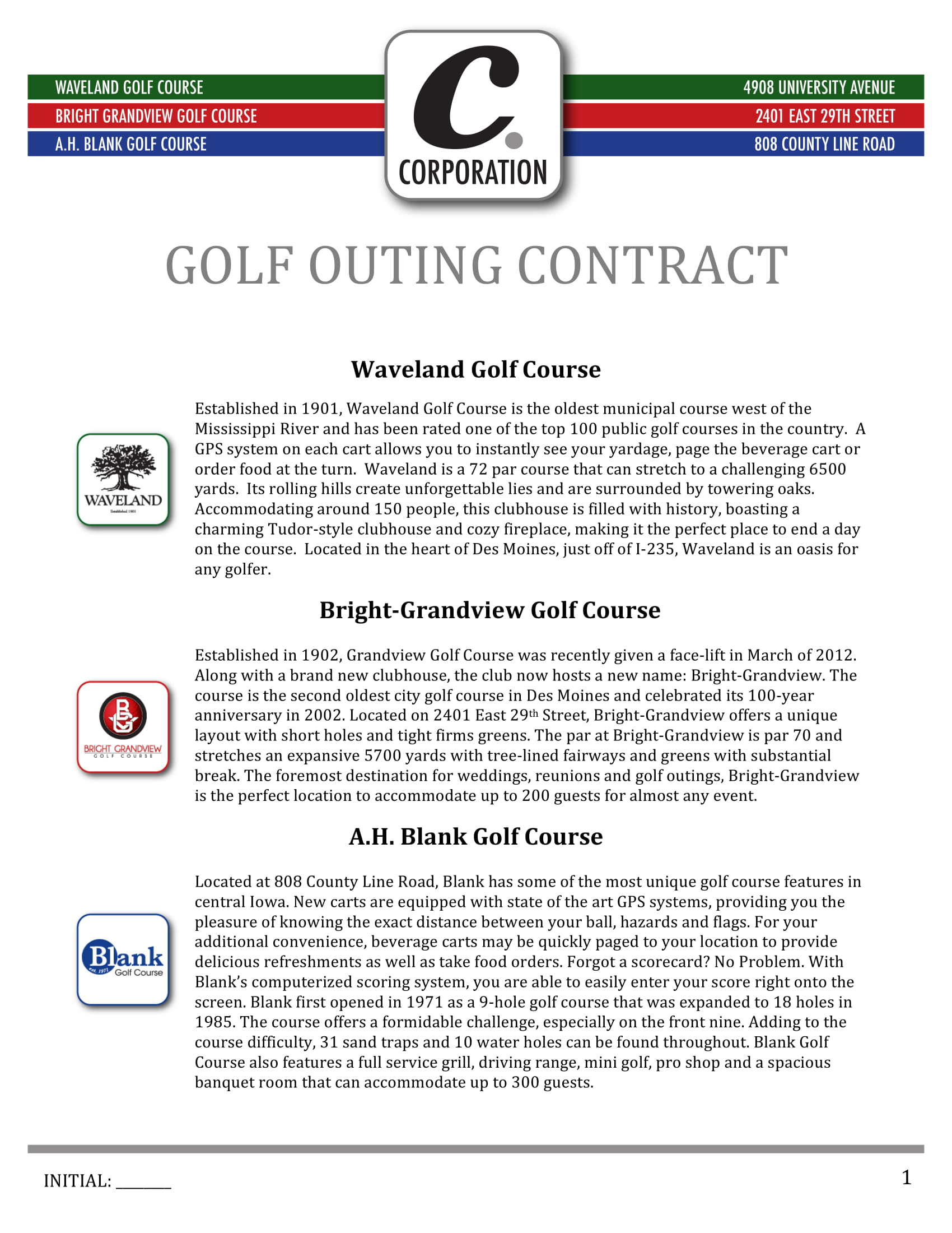 golf outing contract form 1