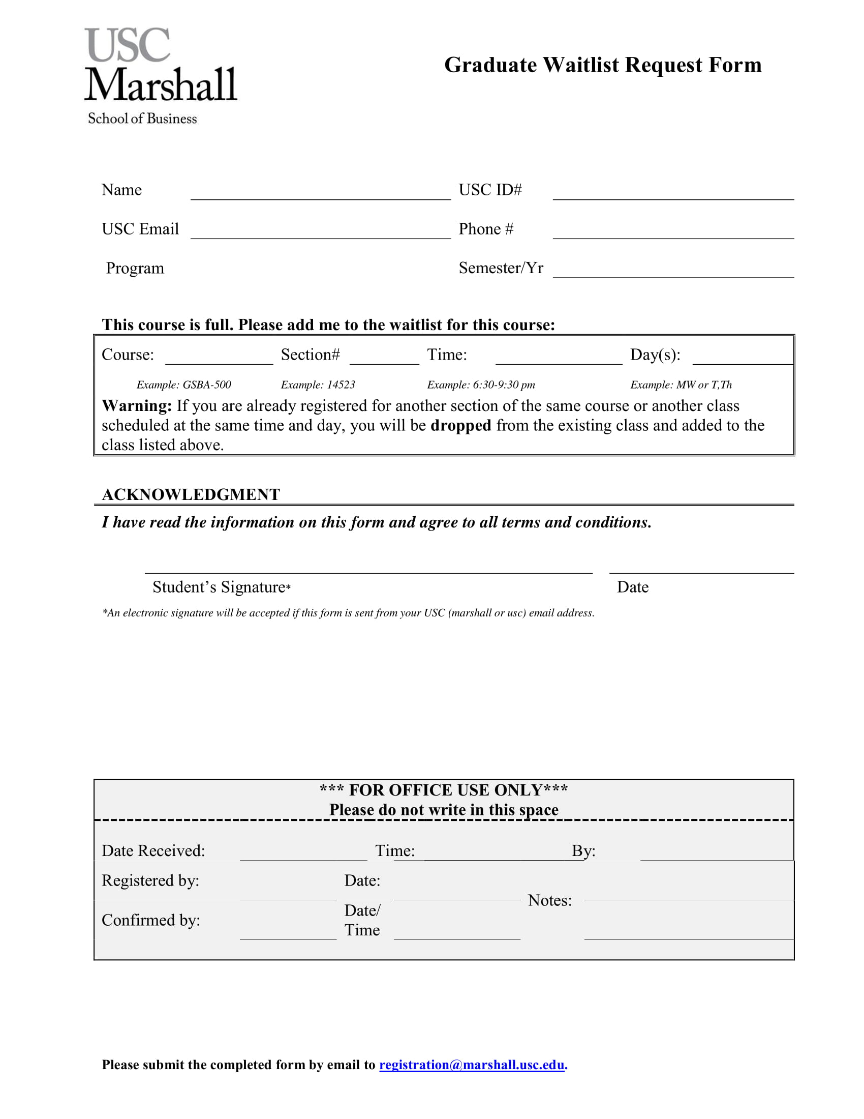 graduate waitlist request form 2