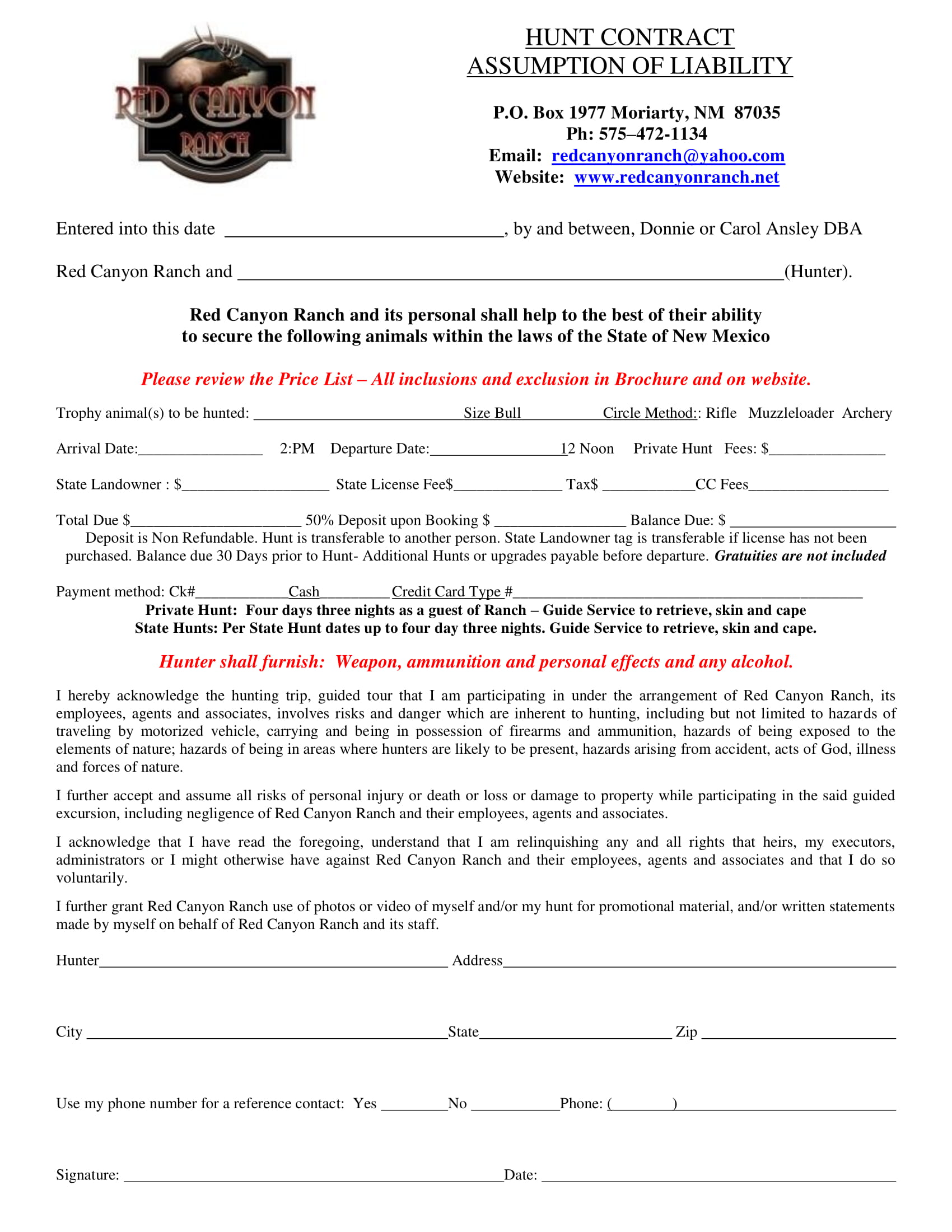 hunt contract assumption of liability form 1